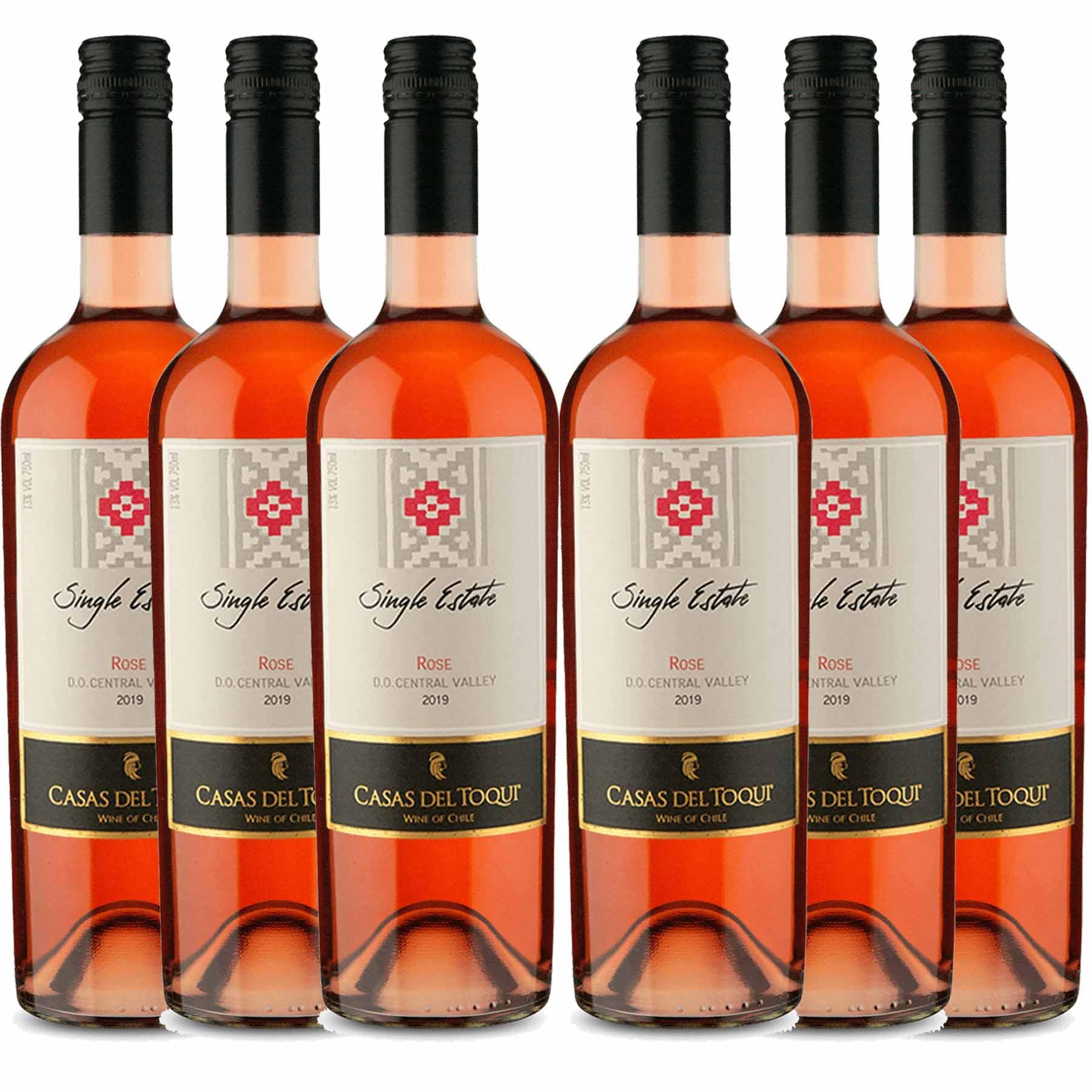 Kit 6 Vinho Chileno Rosé Casas Del Toqui Cabernet Sauvignon