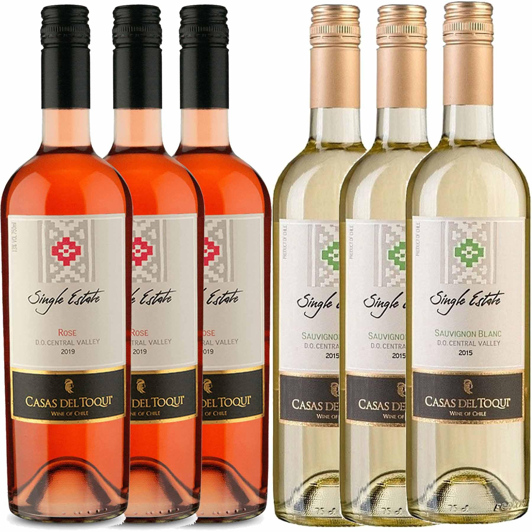 Kit 6 Vinhos Chileno Casas Del Toqui Branco e Rosé