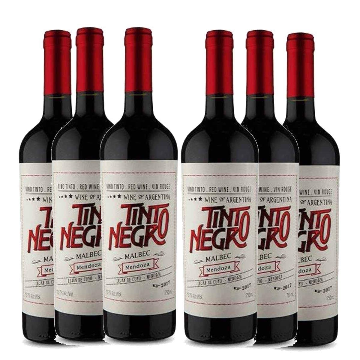 Kit 6 Vinhos Tinto Argentino Negro Mendoza Malbec 2018