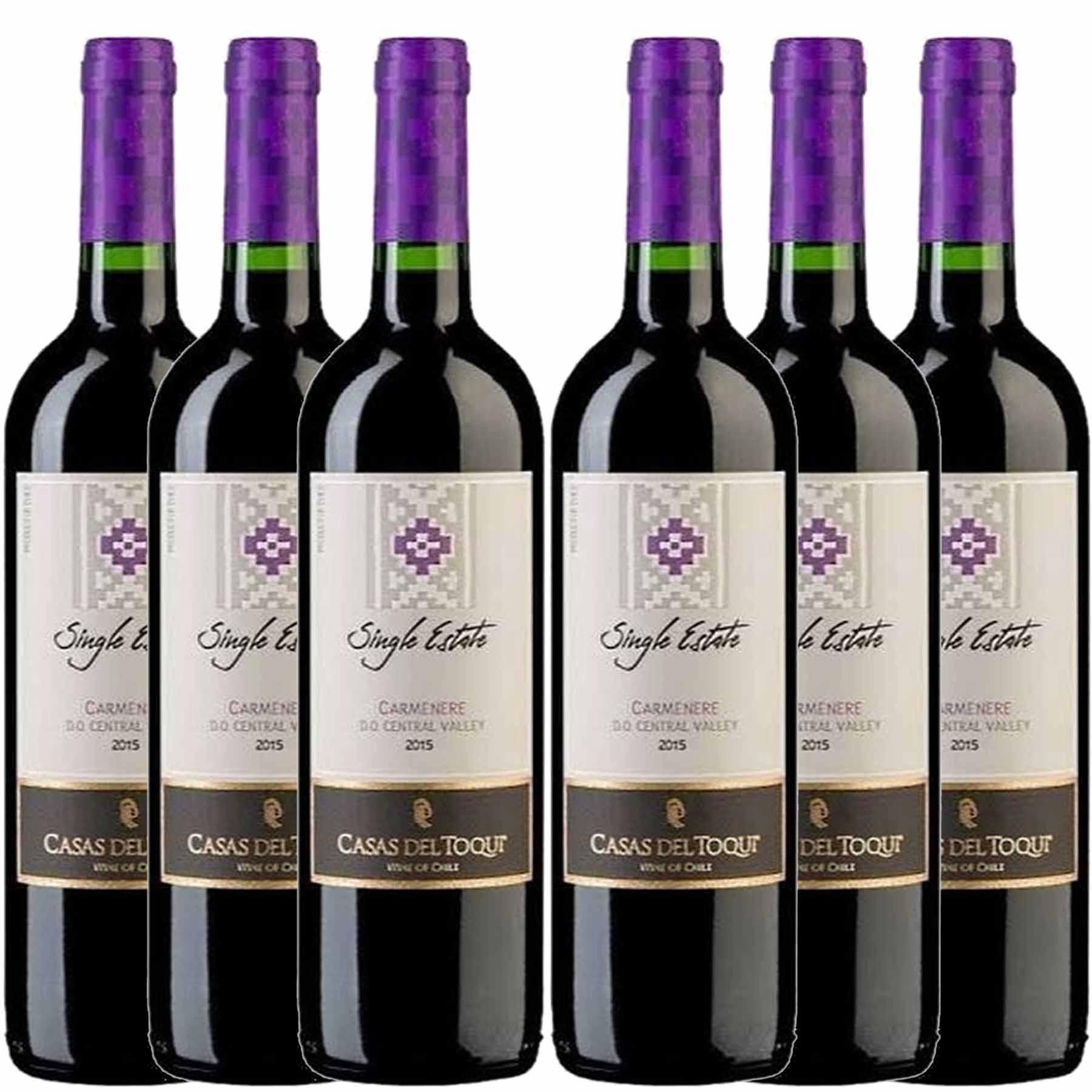 Kit 6 Vinhos Tintos Chilenos Casas Del Toqui Carmenere 2019