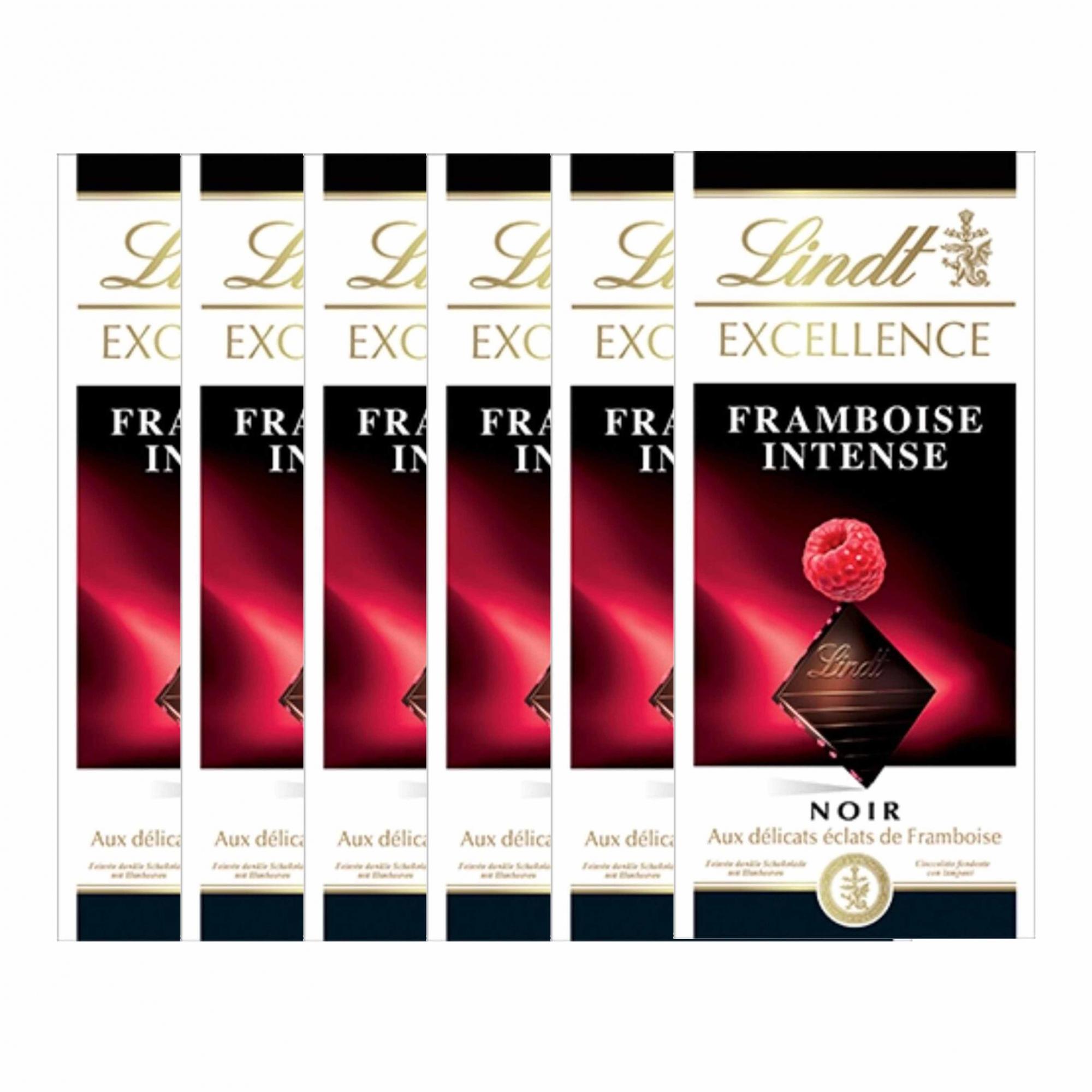 Kit 6x Barra de Chocolate Lindt Excellence Framboesa Intense 100g Dark
