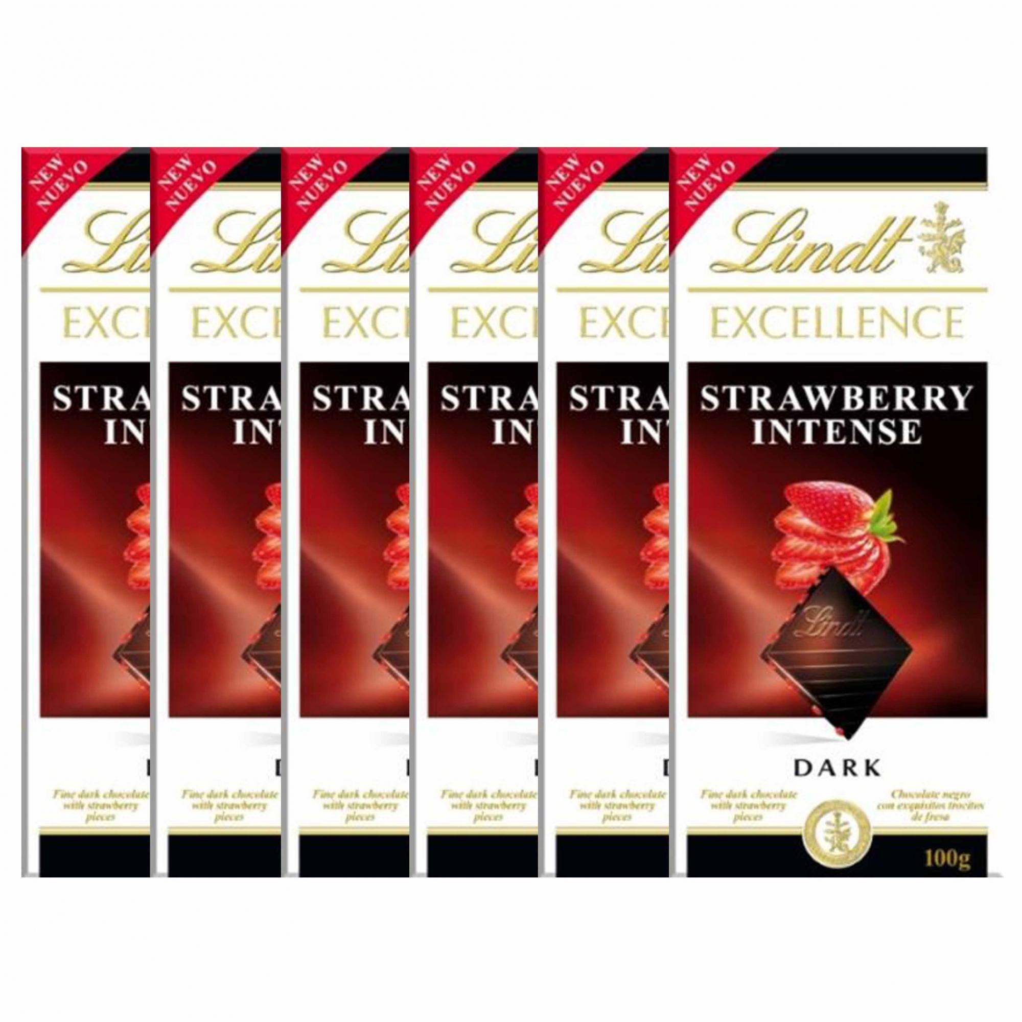 Kit 6x Barra de Chocolate Lindt Excellence Strawberry Intense 100g Dark