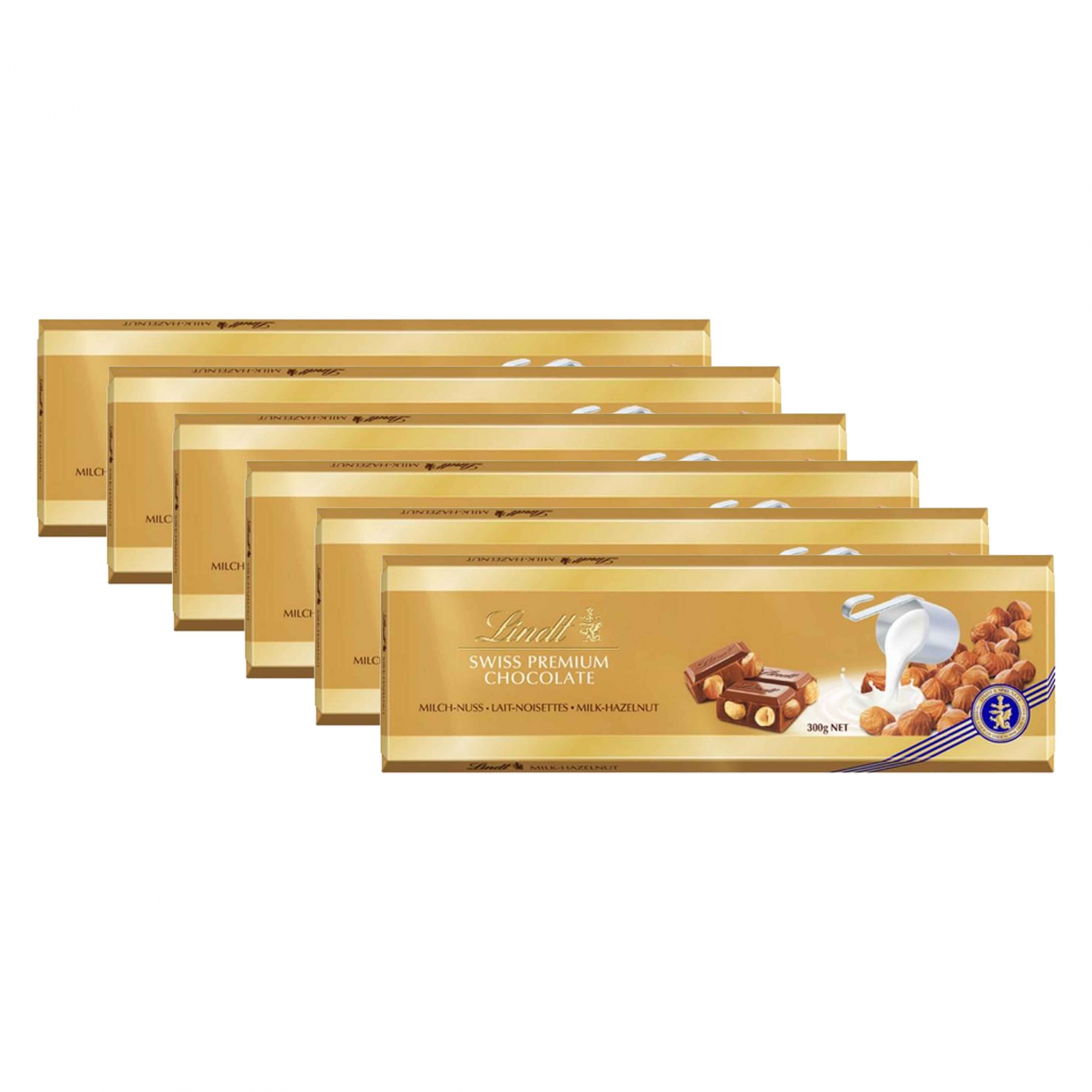 Kit 6x Chocolate Lindt Barra ao Leite com Avelãs (Milk+Hazelnut) 300g