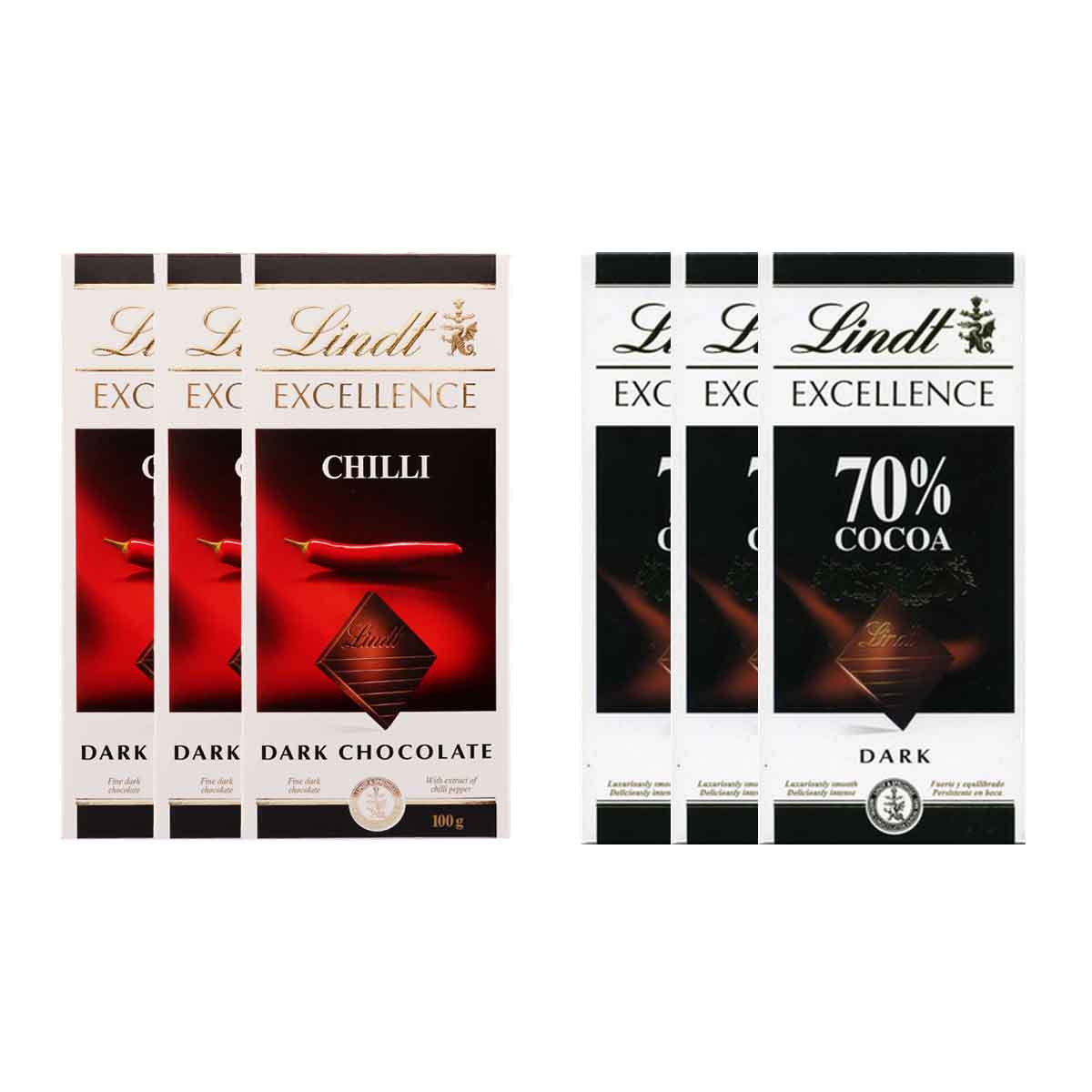 Kit 6x Chocolates Lindt Excellence Chilli + 70% 100g
