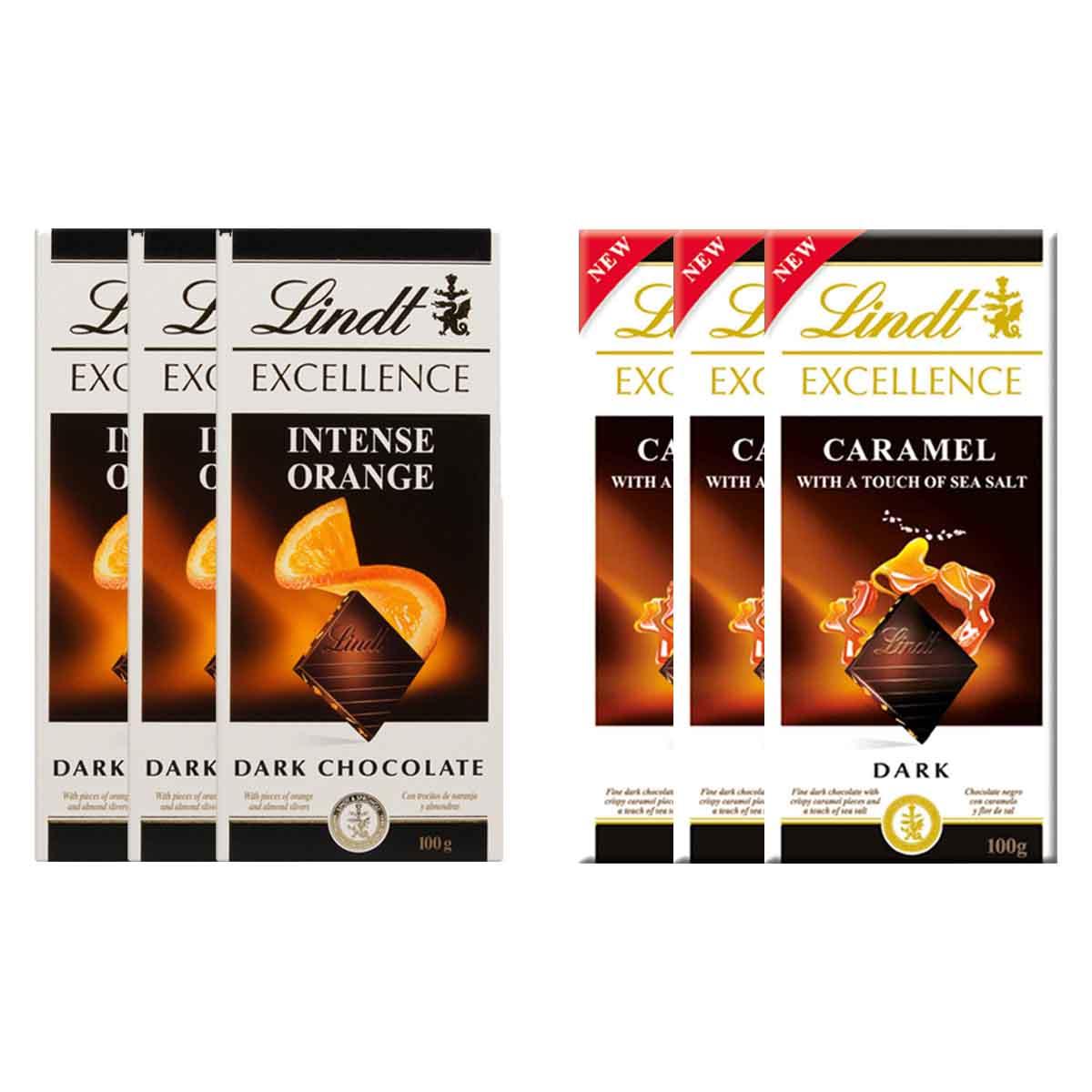 Kit 6x Chocolates Lindt Laranja + Caramelo com Sal 100g