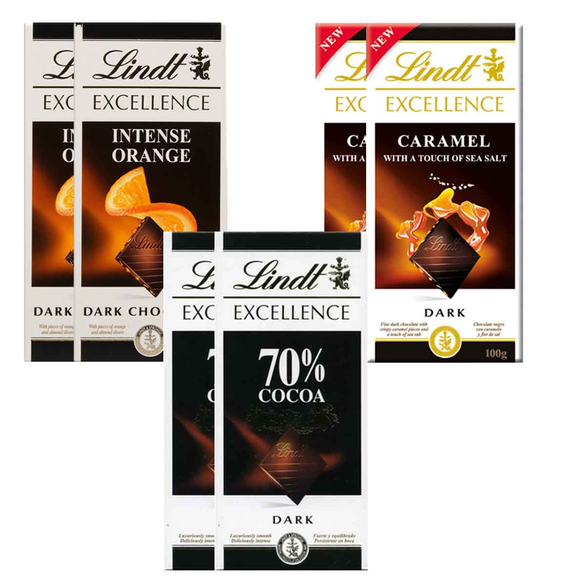 Kit 6x Chocolates Lindt Laranja + Caramelo com Sal + 70%