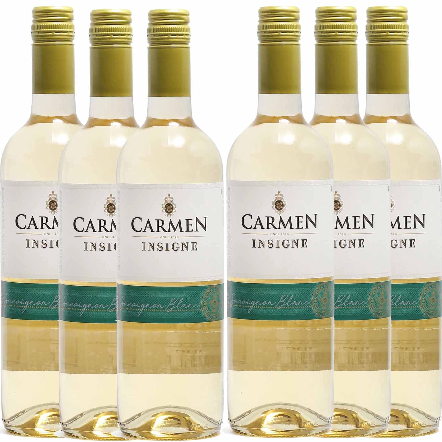 Kit 6x Vinho Branco Chileno Carmen Insigne Sauvignon Blanc 2018 750ml