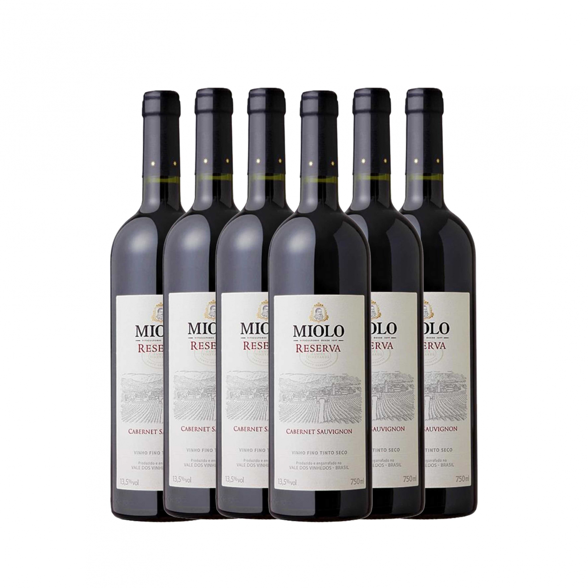 Kit 6x Vinho Brasileiro Tinto Miolo Reserva Cabernet Sauvignon 750ml