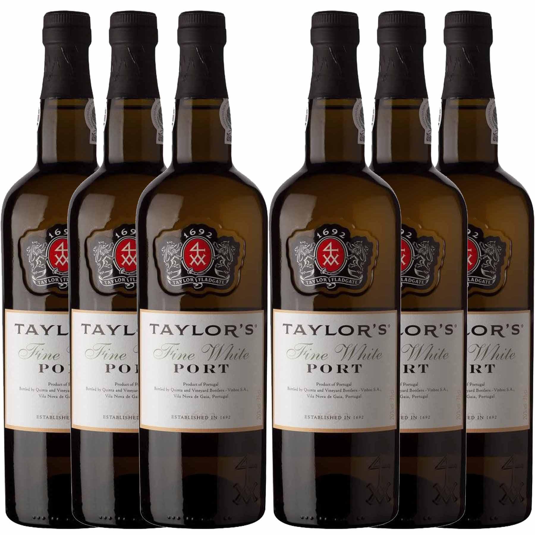 Kit 6x Vinho do Porto Branco Taylor's White Fine Douro 750ml
