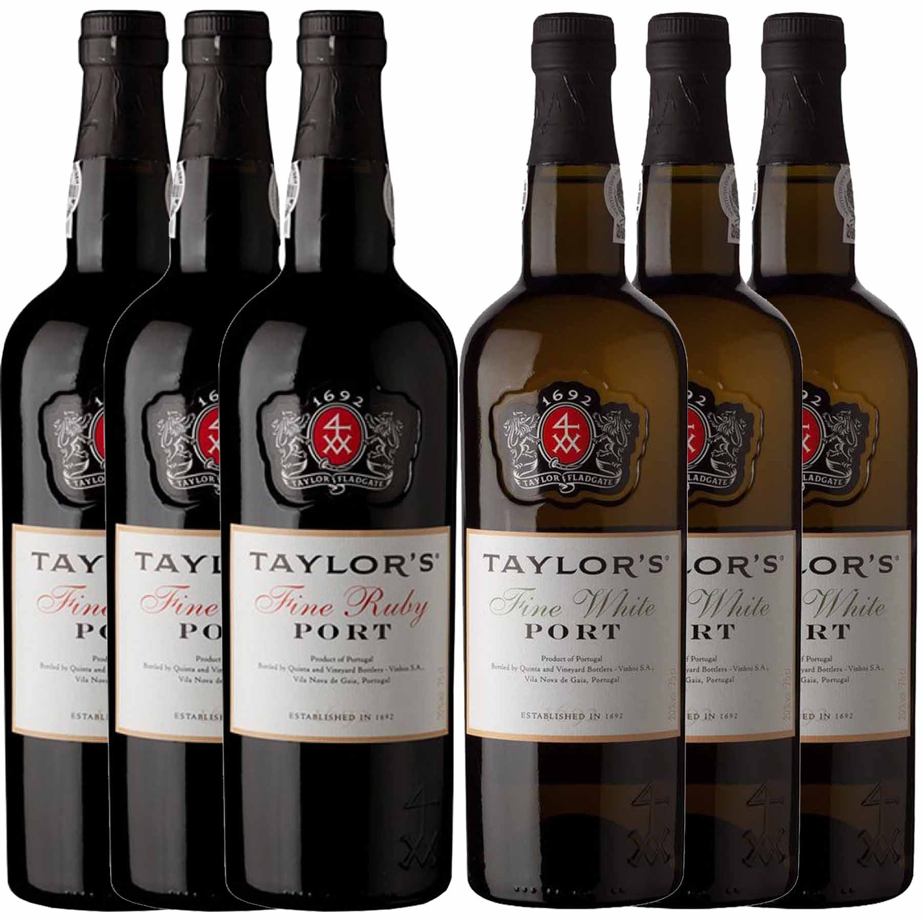 Kit 6x Vinho do Porto Taylor's White Fine + Tawny 750ml