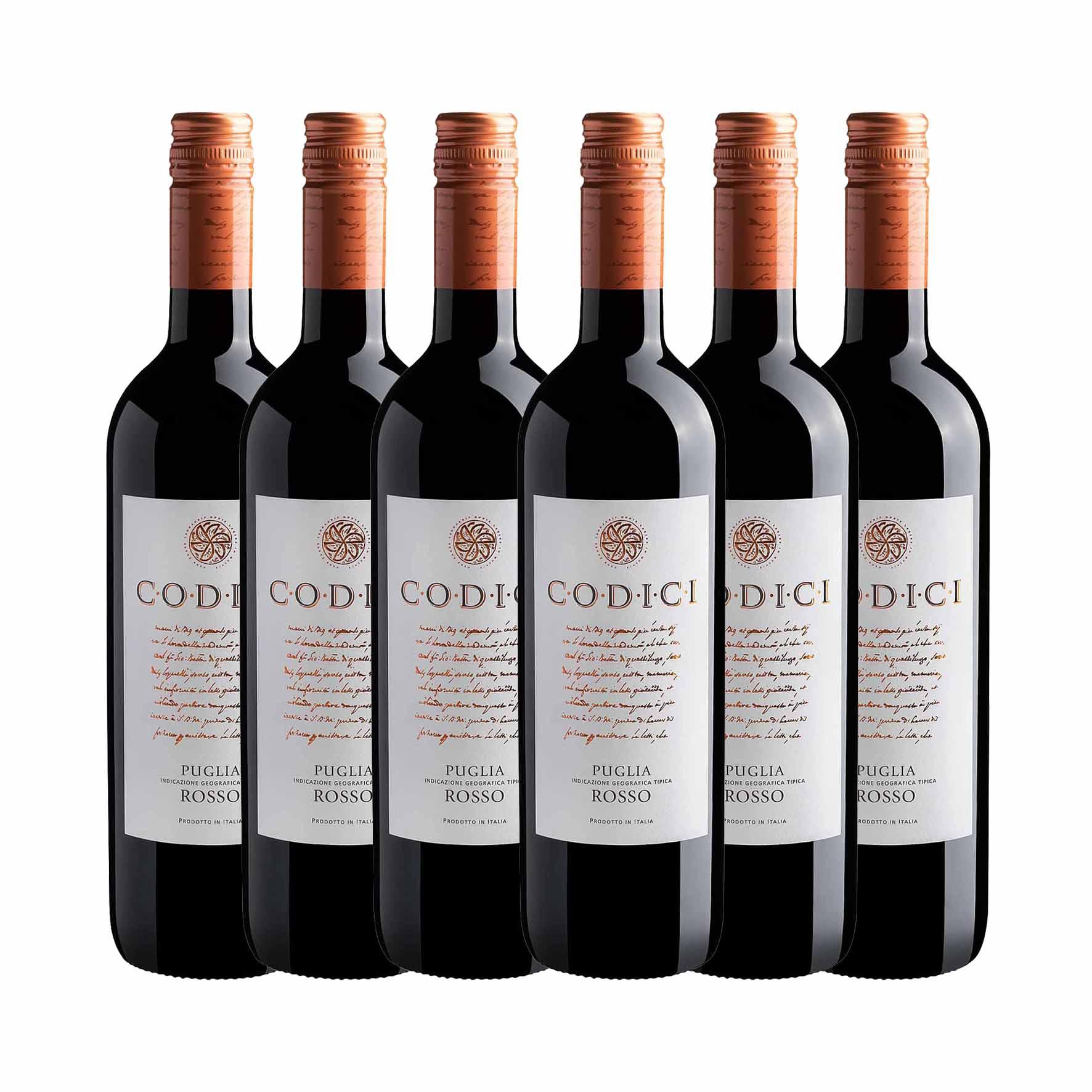 Kit 6x Vinho Italiano Tinto Codici Rosso Puglia IGT