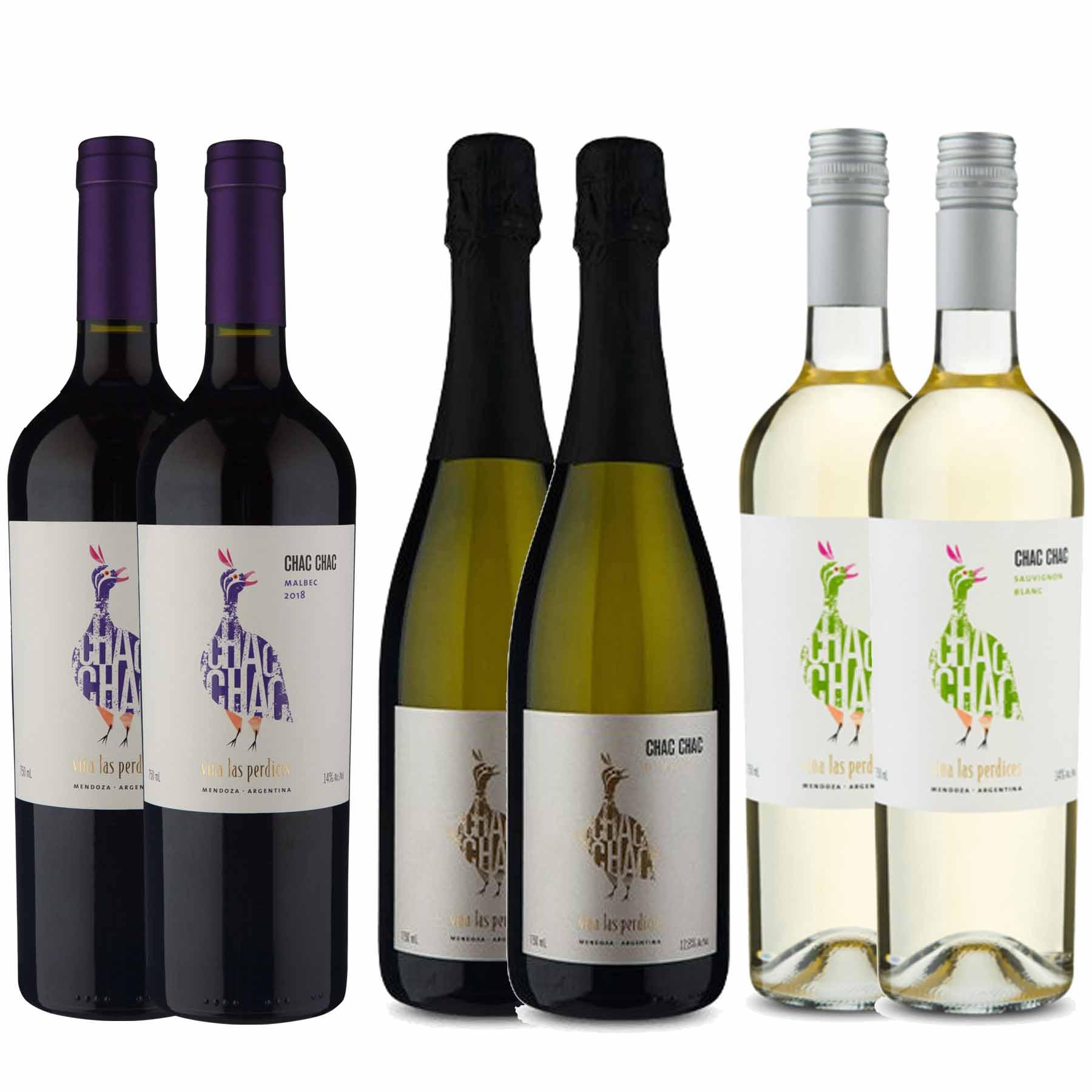 Kit 6x Vinho Tinto Argentino ChacChac Tinto/Branco/Espumante