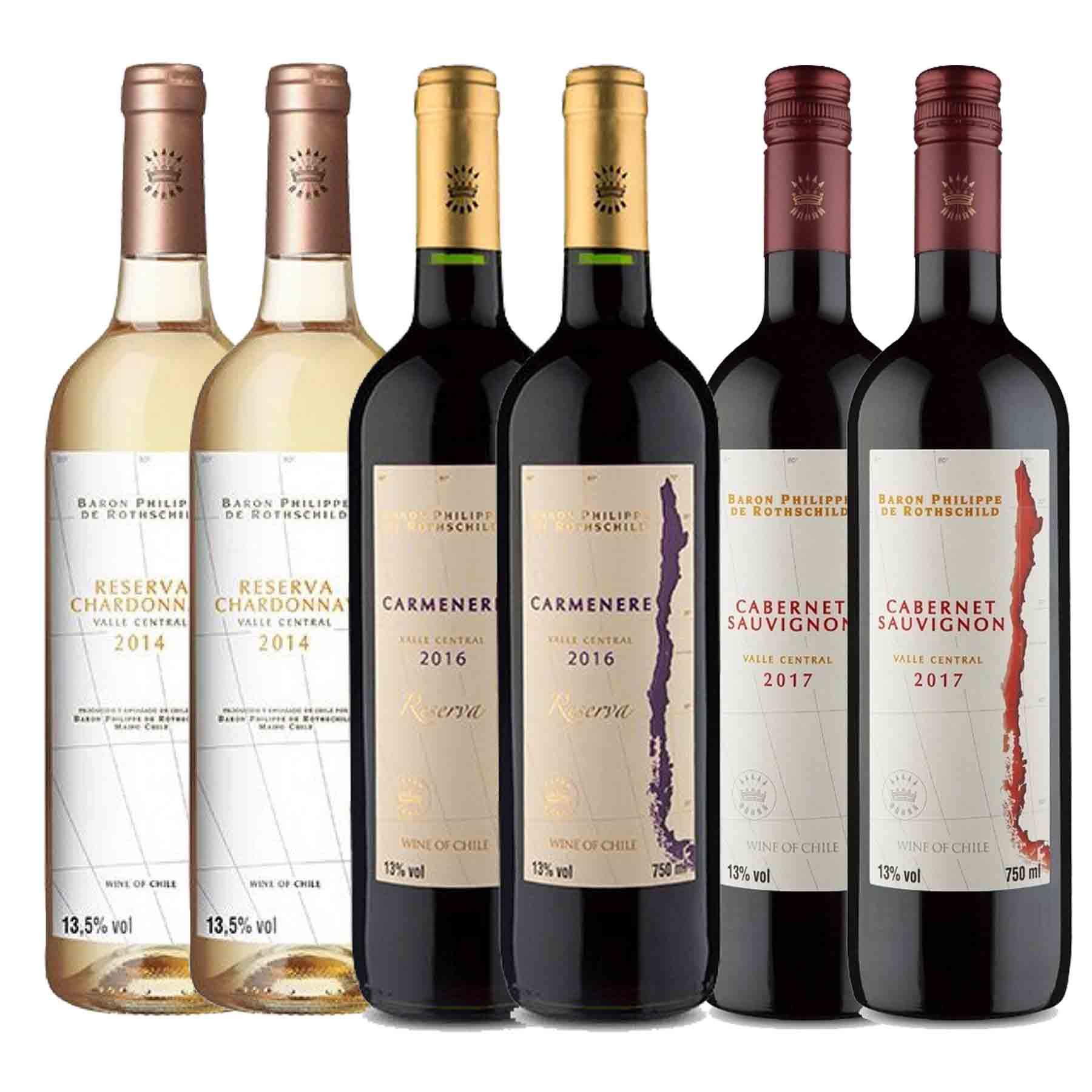 Kit 6x Vinho Tinto/Branco Chileno Baron Philippe de Rothschild Reserva Carmenere, Cabernet Sauvignon e Chardonnay 2019