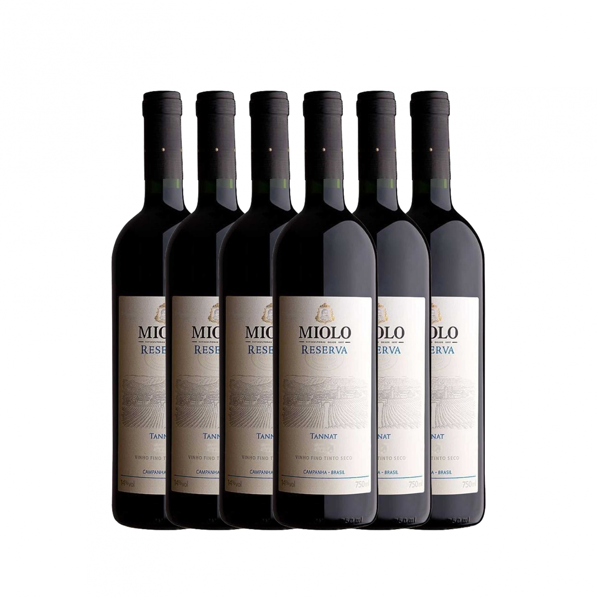 Kit 6x Vinho Tinto Brasileiro Miolo Reserva Tannat 2015 750ml