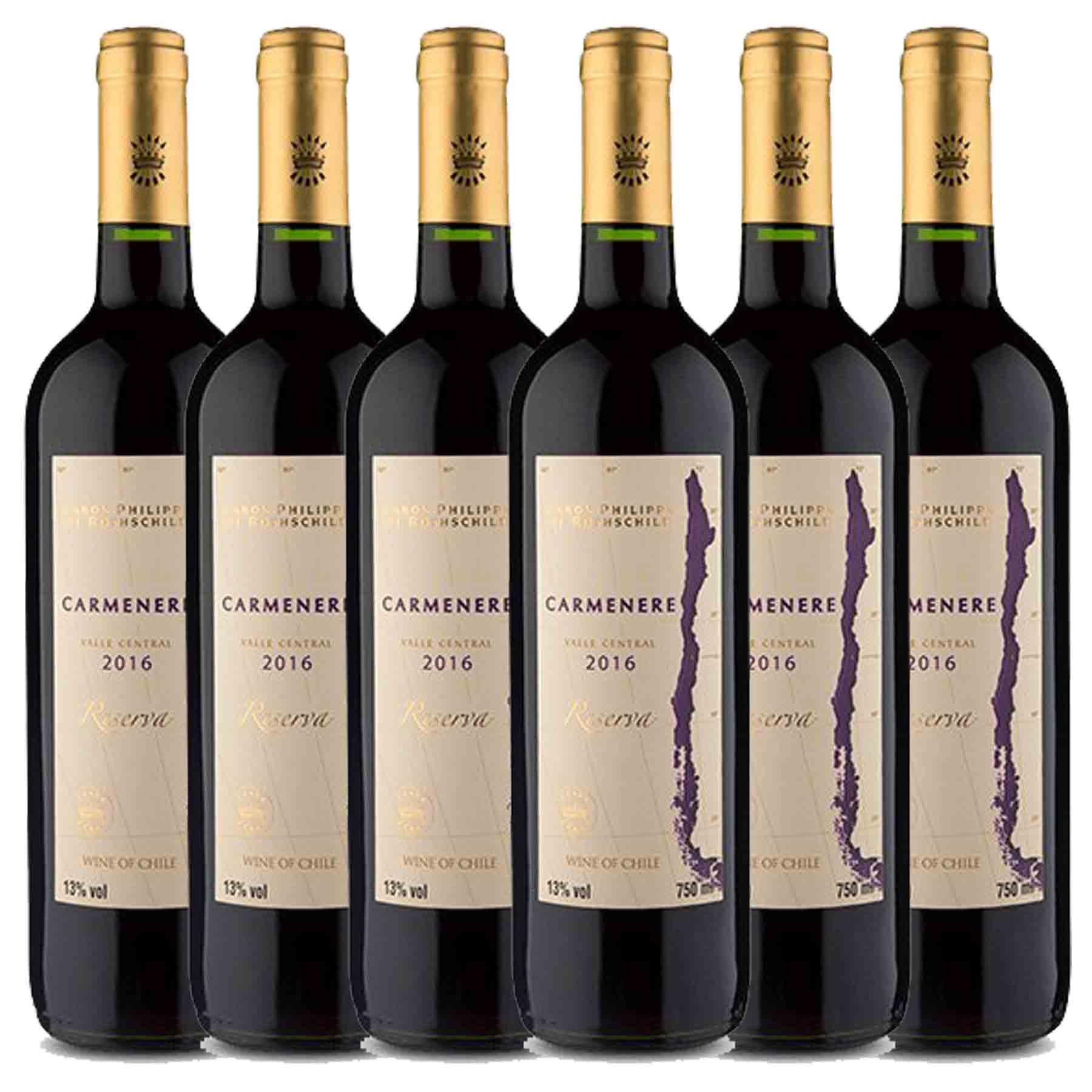 Kit 6x Vinho Tinto Chileno Baron Philippe de Rothschild Reserva Carmenere 2019 750ml