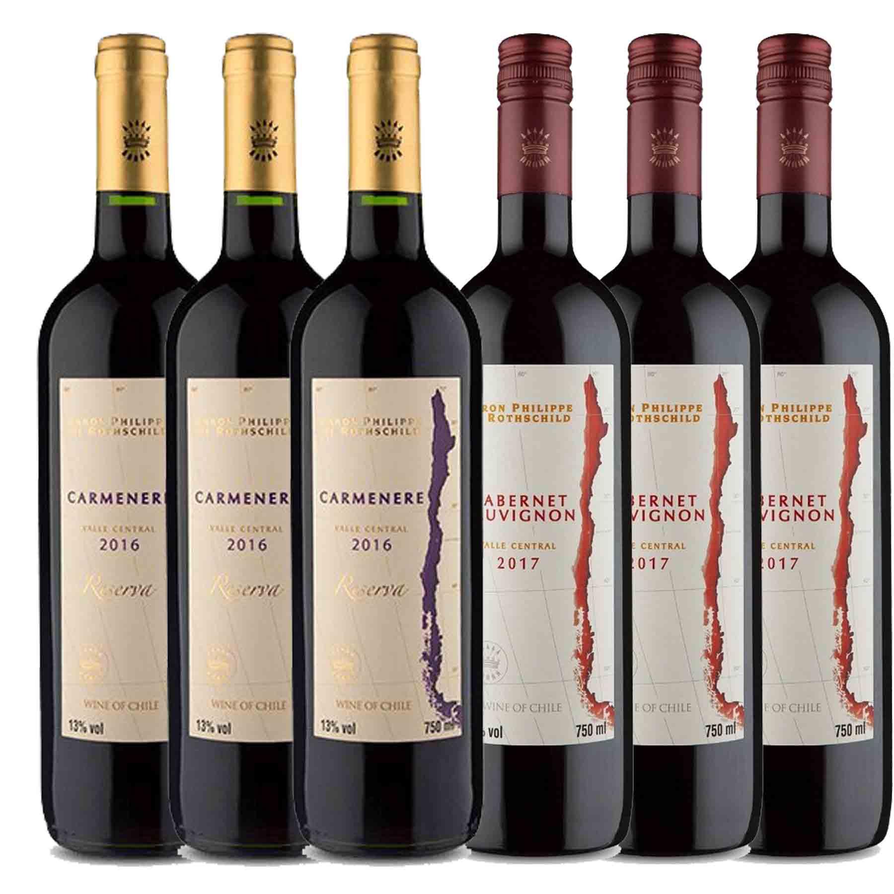 Kit 6x Vinho Tinto Chileno Baron Philippe de Rothschild Reserva Carmenere e Cabernet Sauvignon 750ml