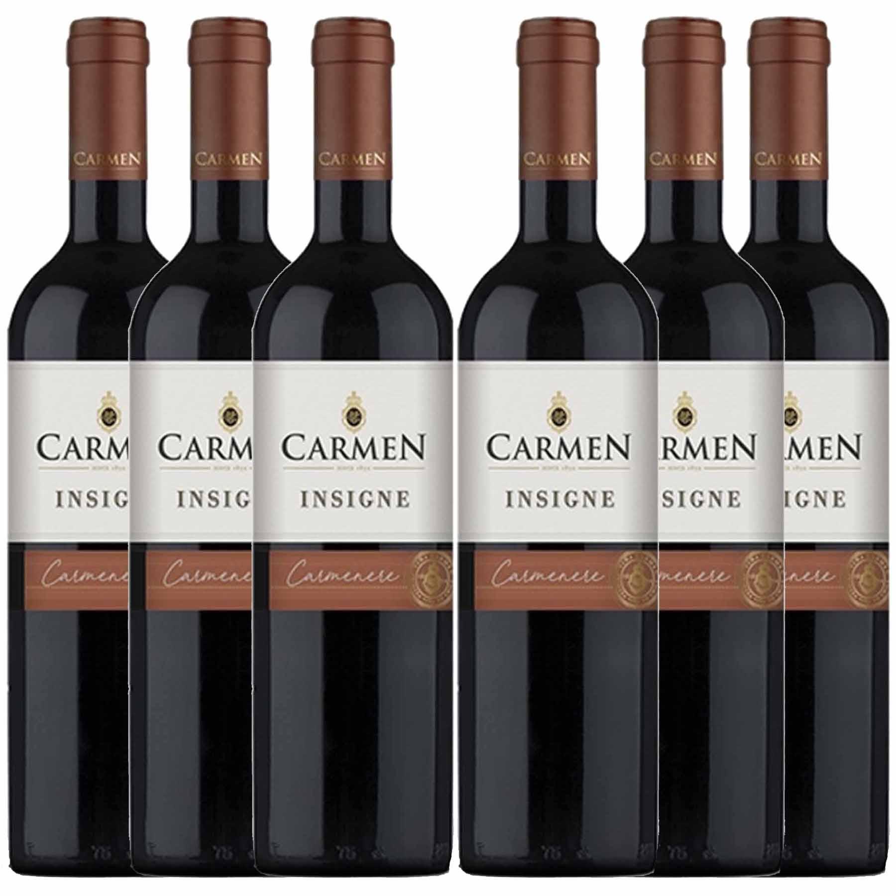Kit 6x Vinho Tinto Chileno Carmen Insigne Carmenere 2018