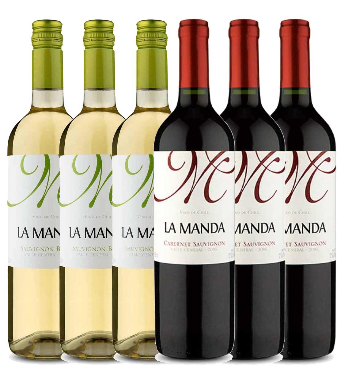 Kit 6x Vinho Tinto Chileno La Manda Cabernet Sauvignon e Sauvignon Blanc 2019