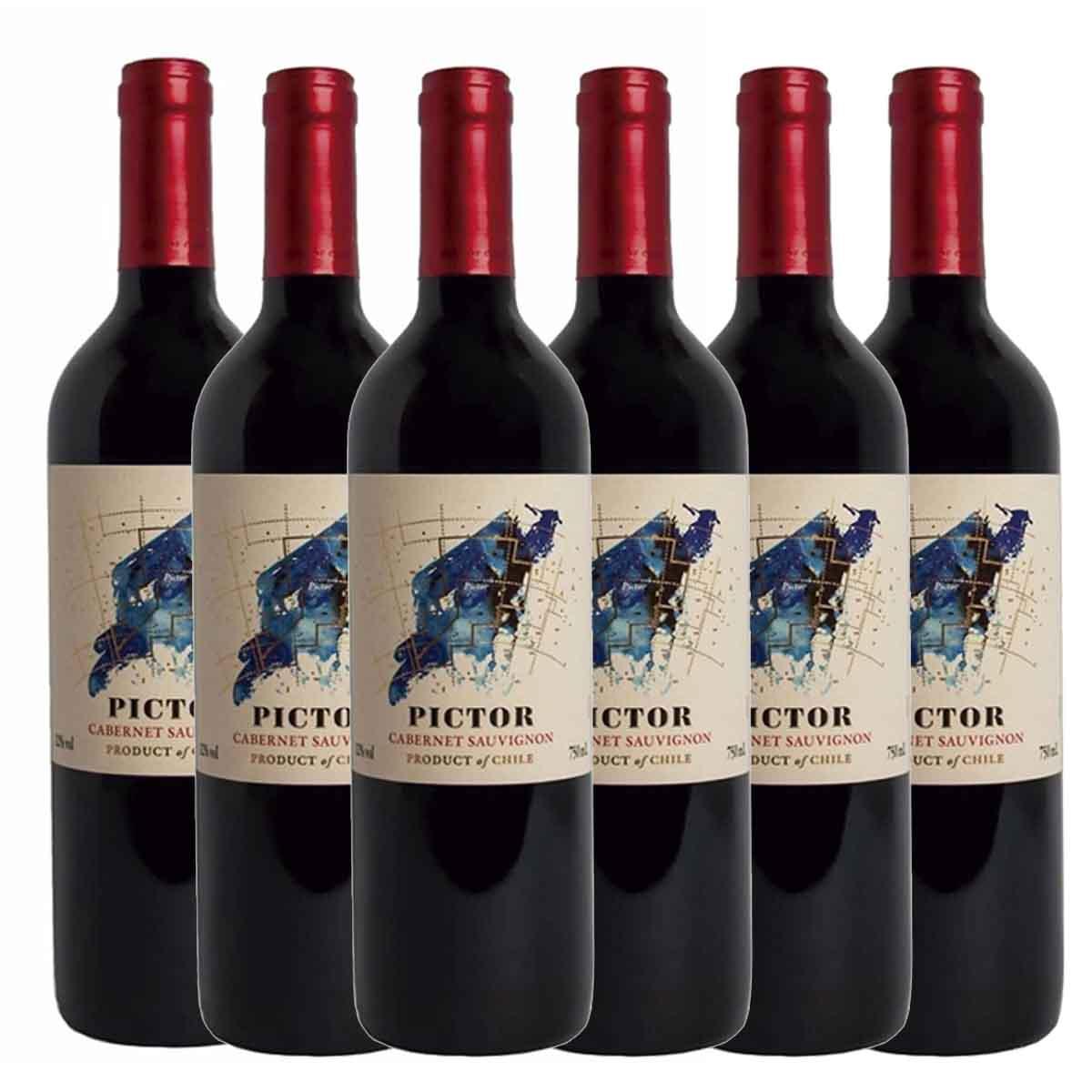 Kit 6x Vinho Tinto Chileno Pictor Cabernet Sauvignon 2018
