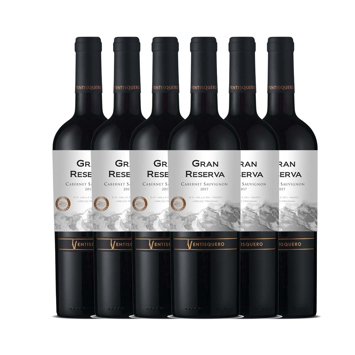 Kit 6x Vinho Tinto Chileno Ventisquero Gran Reserva Cabernet Sauvignon 750ml 2018