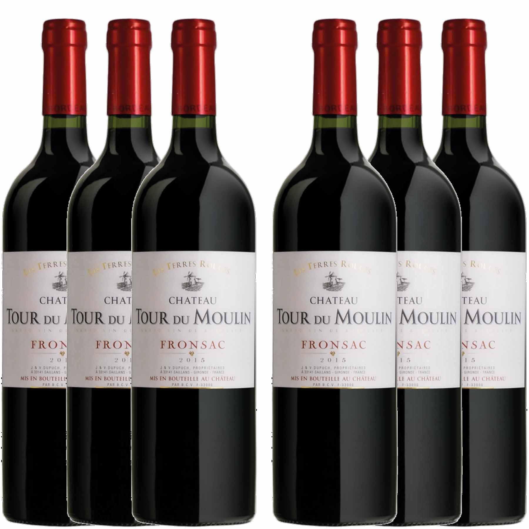 Kit 6x Vinho Tinto Francês Château Tour Du Moulin Les Terres Fronsac 2014