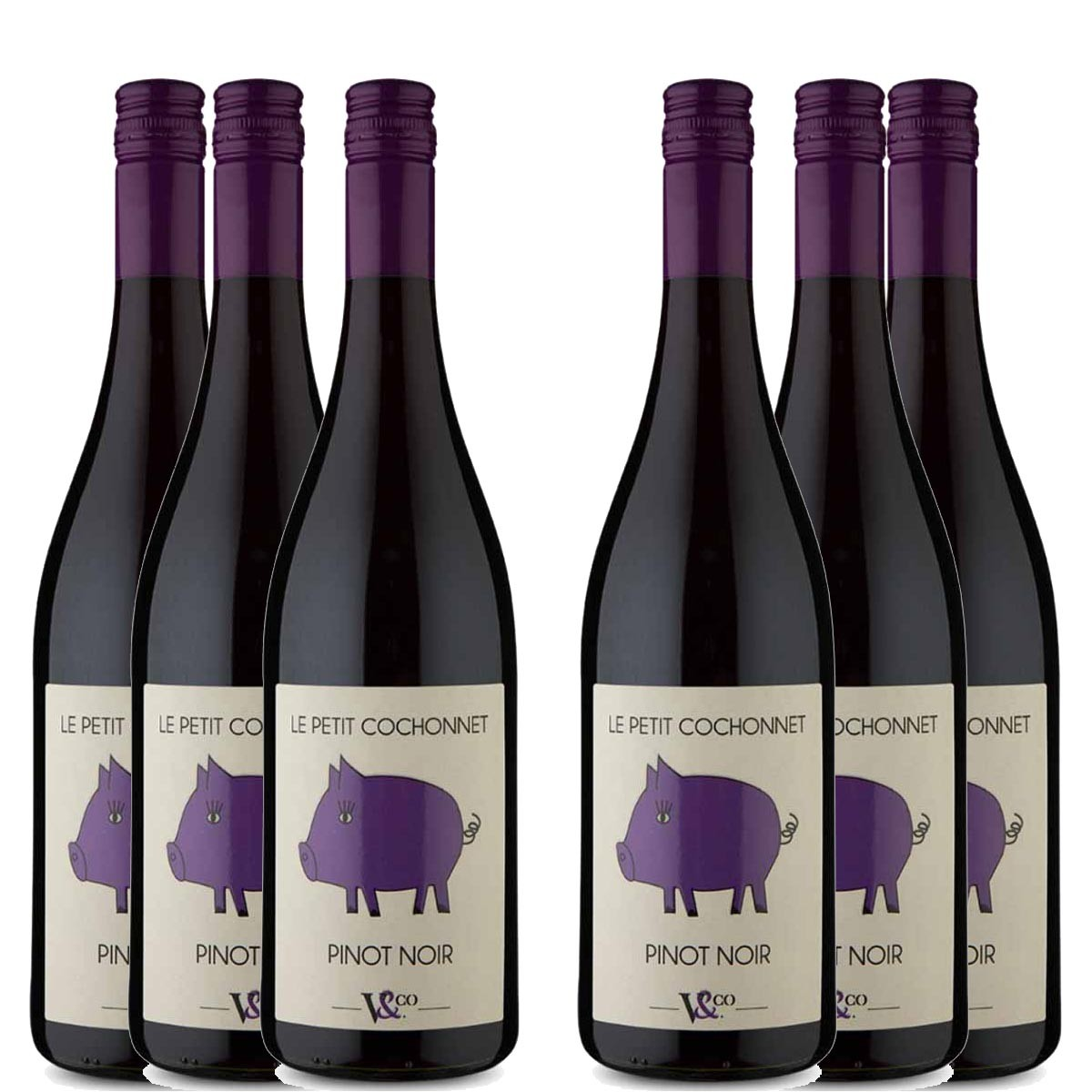 Kit 6x Vinho Tinto Francês Petit Cochonnet Pinot Noir 2019