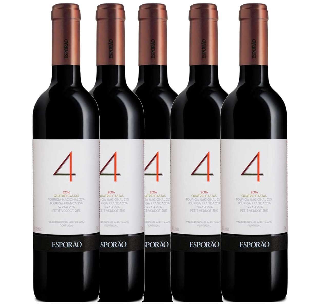 Kit 6x Vinho Tinto Português Esporão 4 Castas 2018 750ml