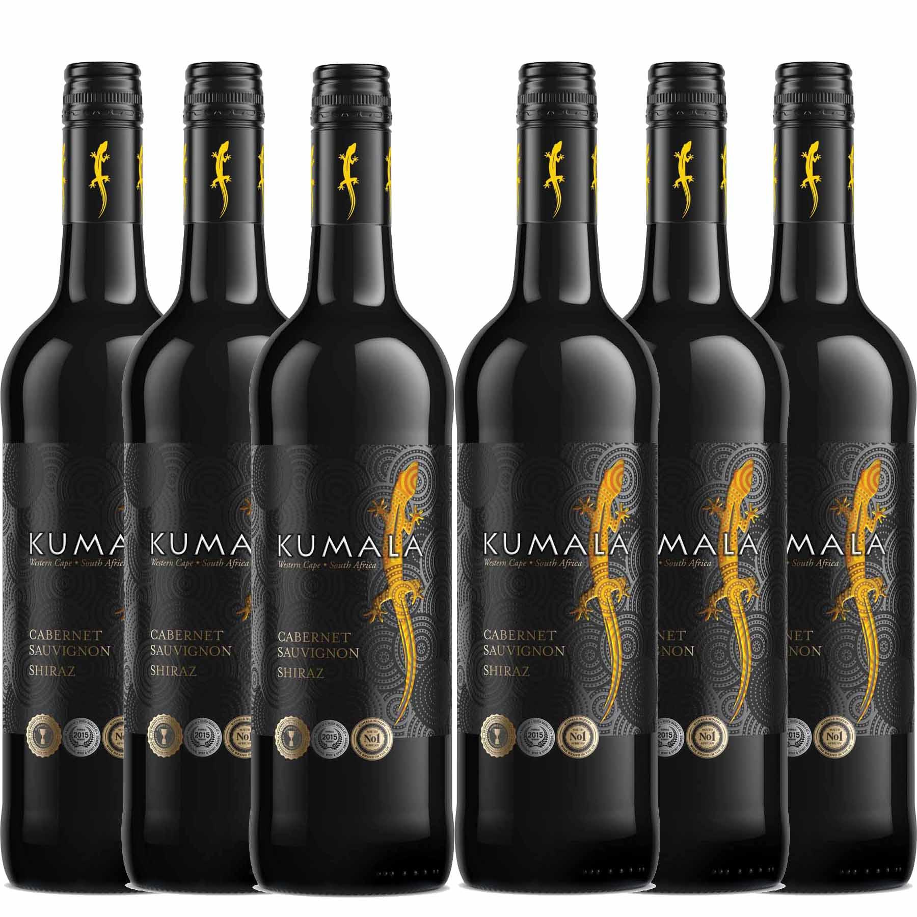 Kit 6x Vinho Tinto Sul Africano Kumala Cabernet/Shiraz 2019