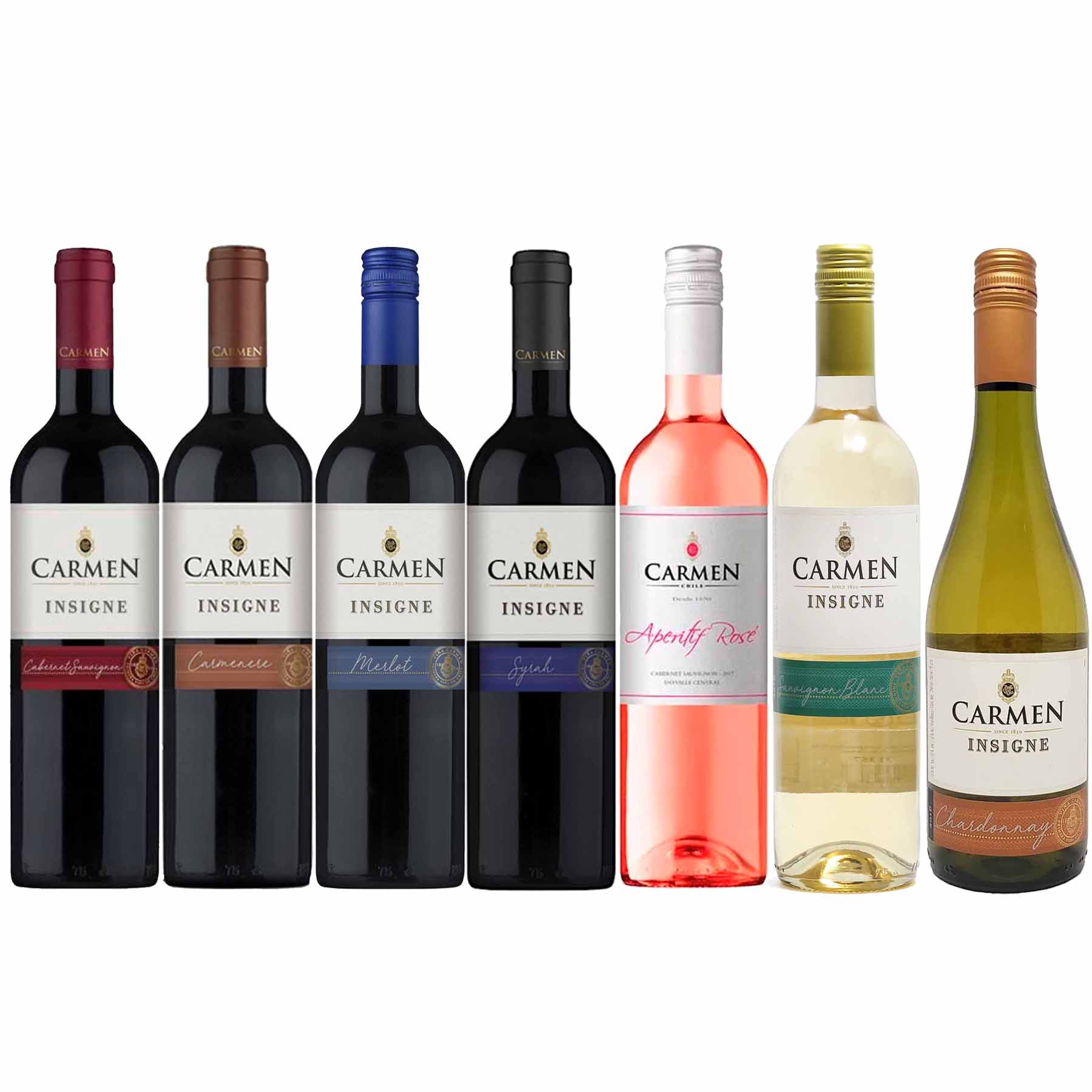 Kit 7 Vinhos Chilenos Carmen Insigne 4 tintos 2 brancos 1 rosé