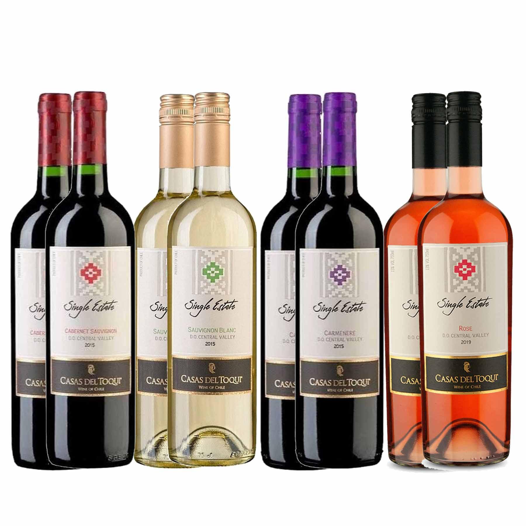 Kit 8 Vinhos Chileno Casas Del Toqui 4 Tinto 2 Branco 2 Rosé