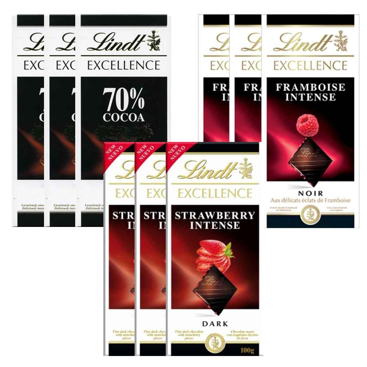Kit 9x Chocolates Lindt Morango + Framboesa + 70% 100g