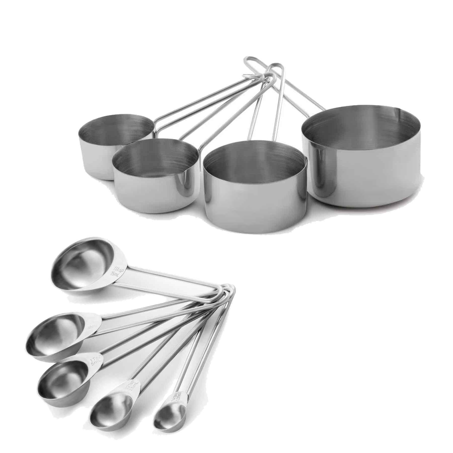 Kit de Medidores Colher (5 peças) e Xícaras (4 Peças) Mimo Aço Inox