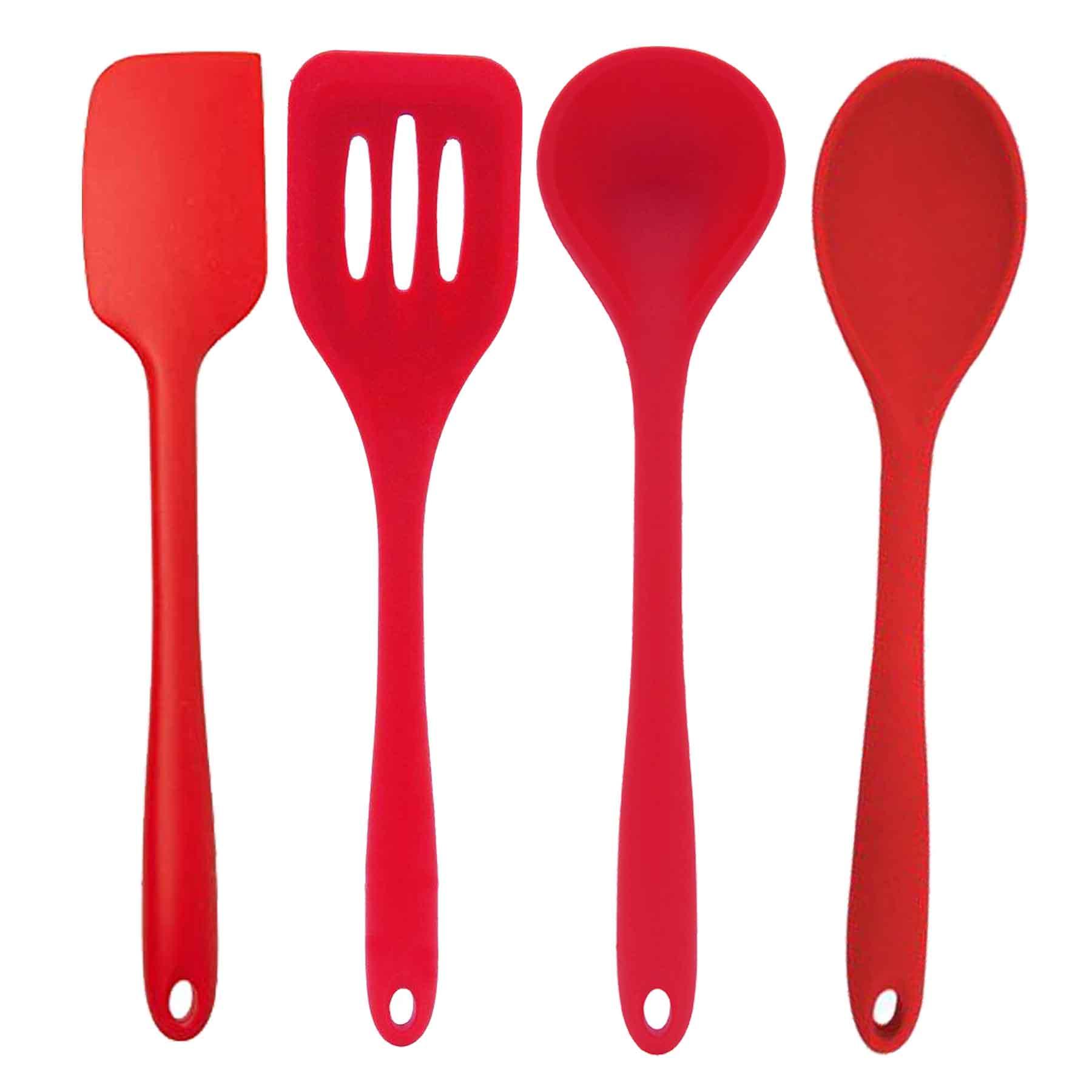 Kit de Utensílios de Silicone 4 Peças Vermelho Mimo 28cm