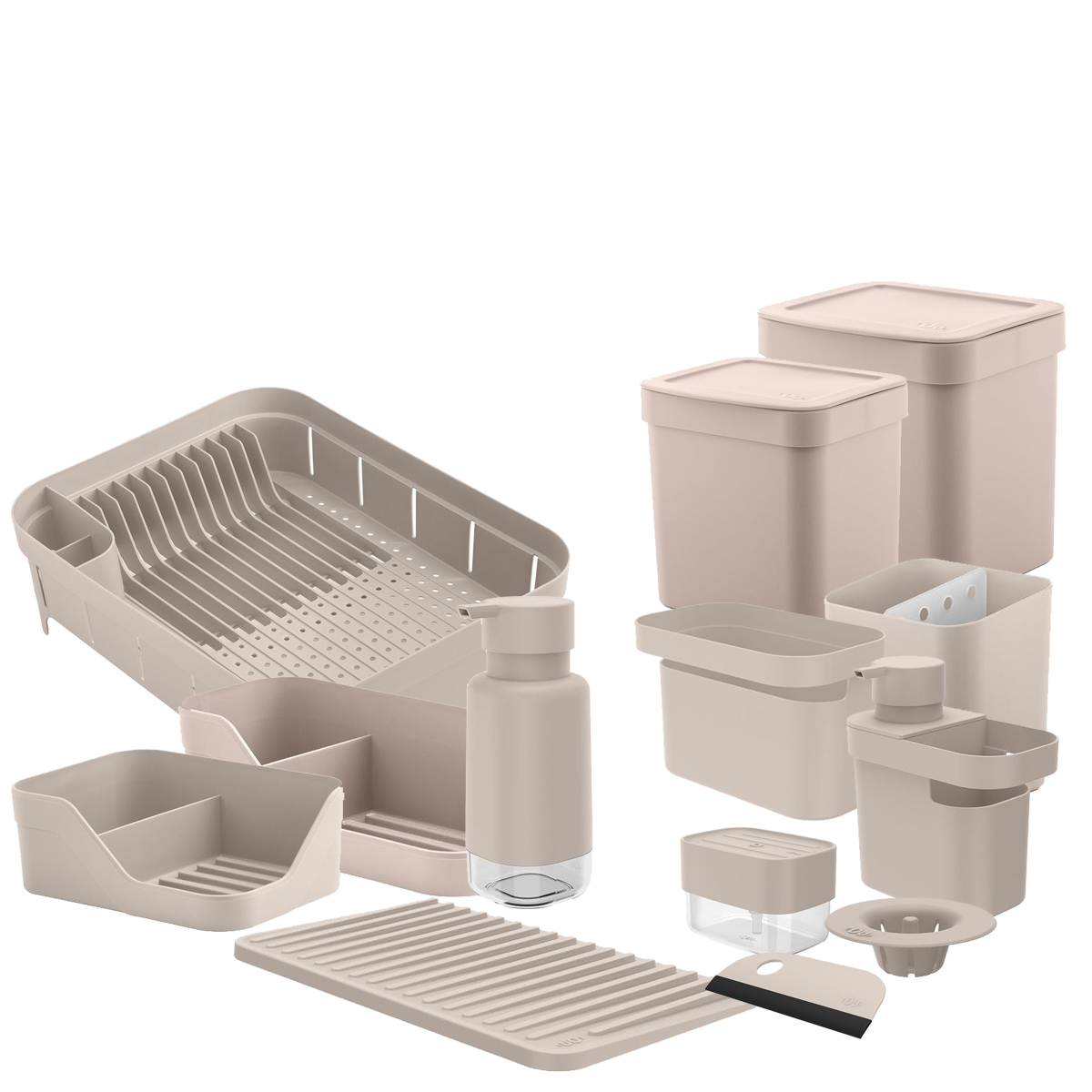 Kit para Pia 13pc Bege OU Organizador/Escorredor/Dispenser