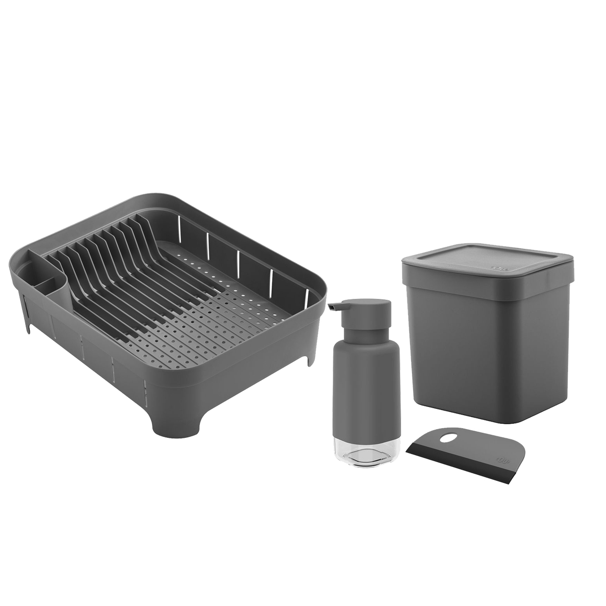 Kit para Pia 4pc Cinza OU Lixeira/Escorredor/Dispenser/Rodo