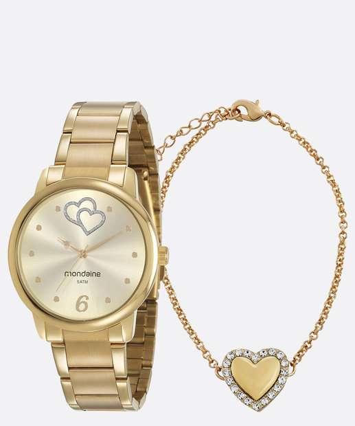 Kit Relógio Feminino Mondaine + Pulseira 53921LPMGDE1