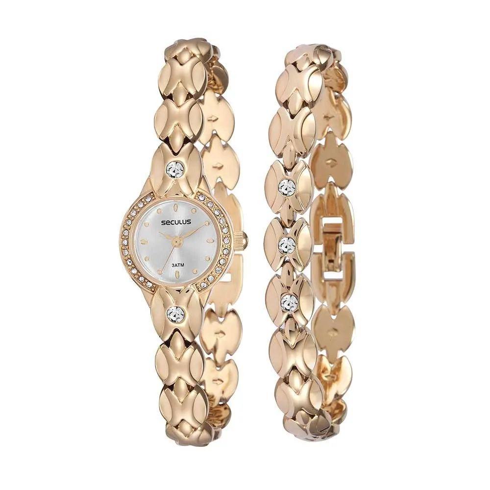 Kit Relógio Feminino Seculus + Pulseira 20455LPSKDB1K1