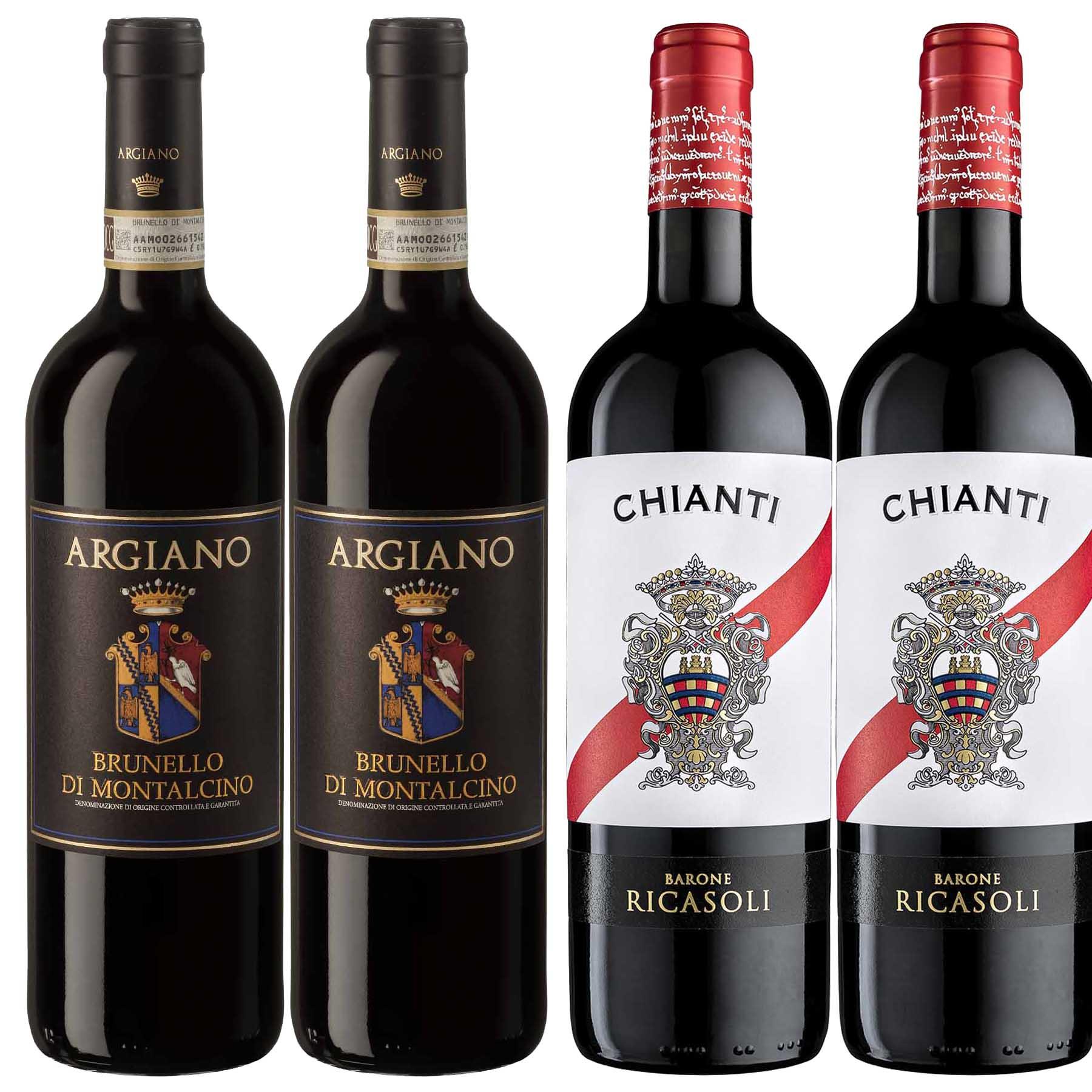 Kit Toscana 4 Vinhos: Chianti Ricasoli e Brunello Argiano
