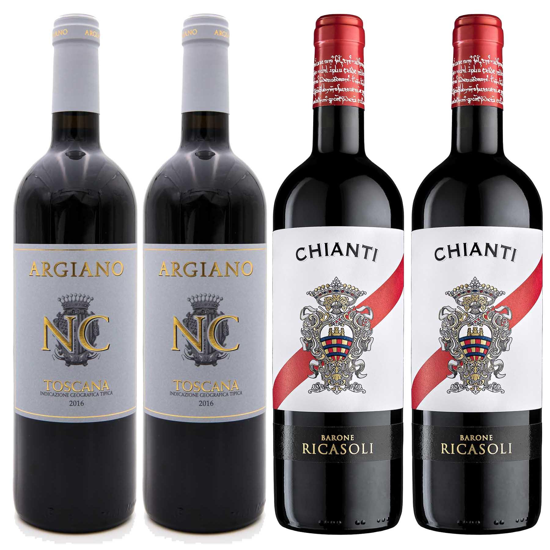 Kit Toscana 4 Vinhos: Chianti Ricasoli e NC Toscana IGT