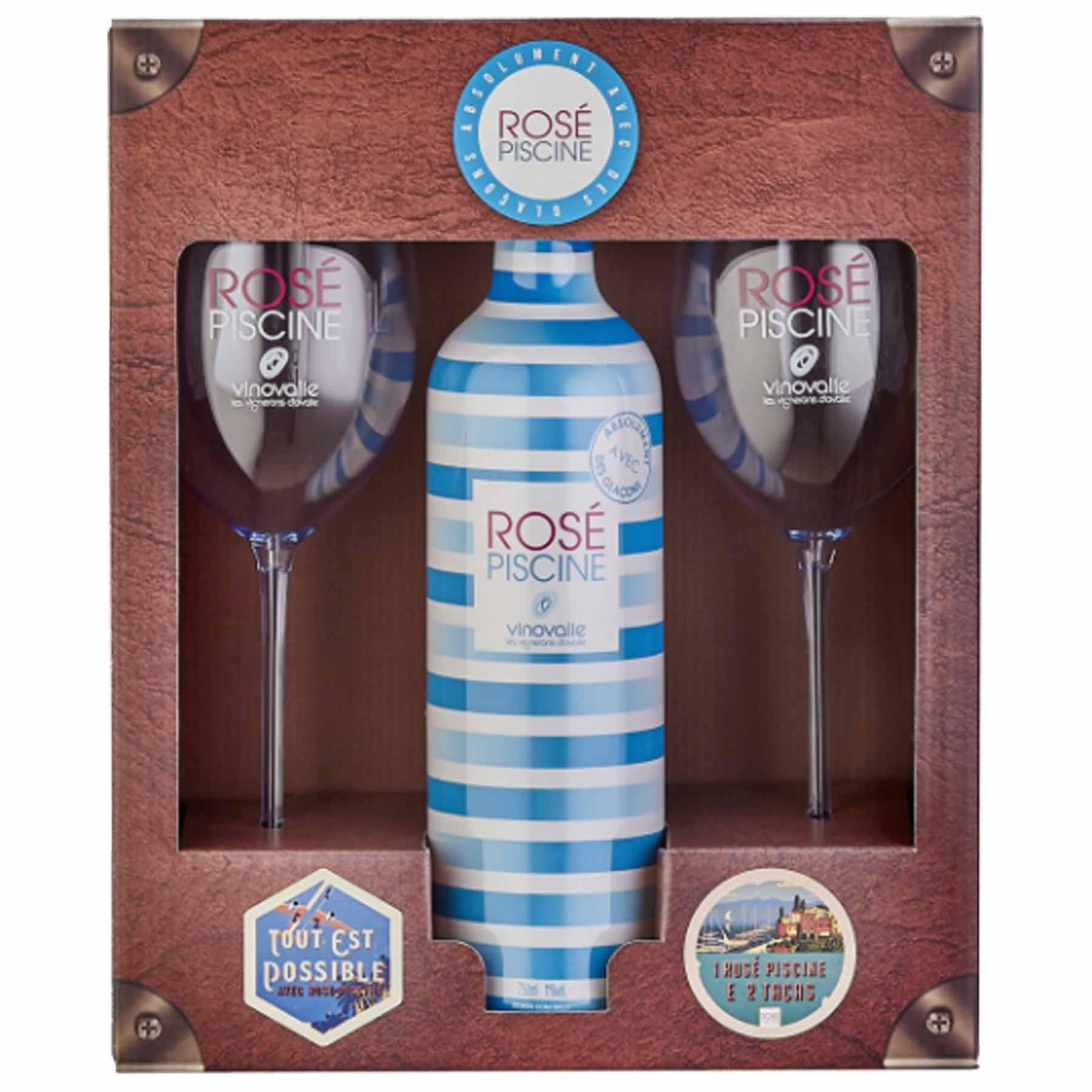 Kit Vinho Rosé Francês Rosé Piscine Stripes 750ml + 2 Taças