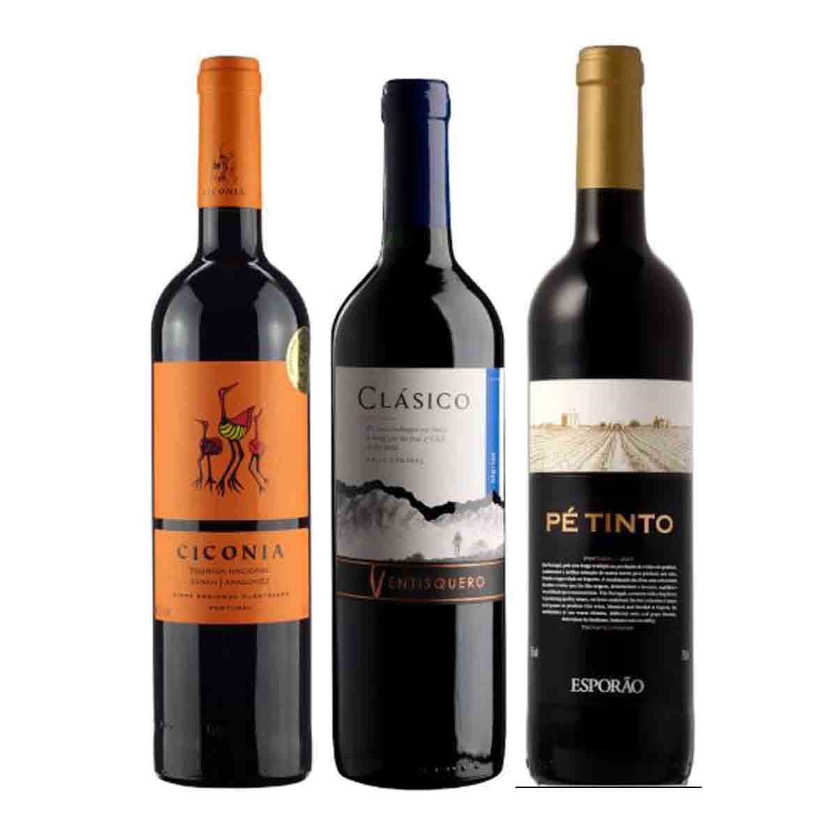 Kit Vinhos Classico Ventisquero Merlot + Pé Tinto + Ciconia