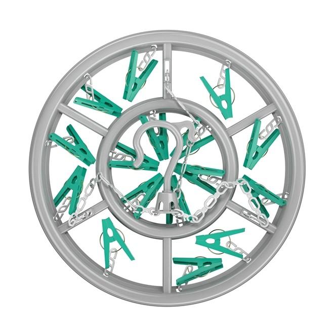 Mini Varal Redondo com 16 Prendedores FlashLimp Verde