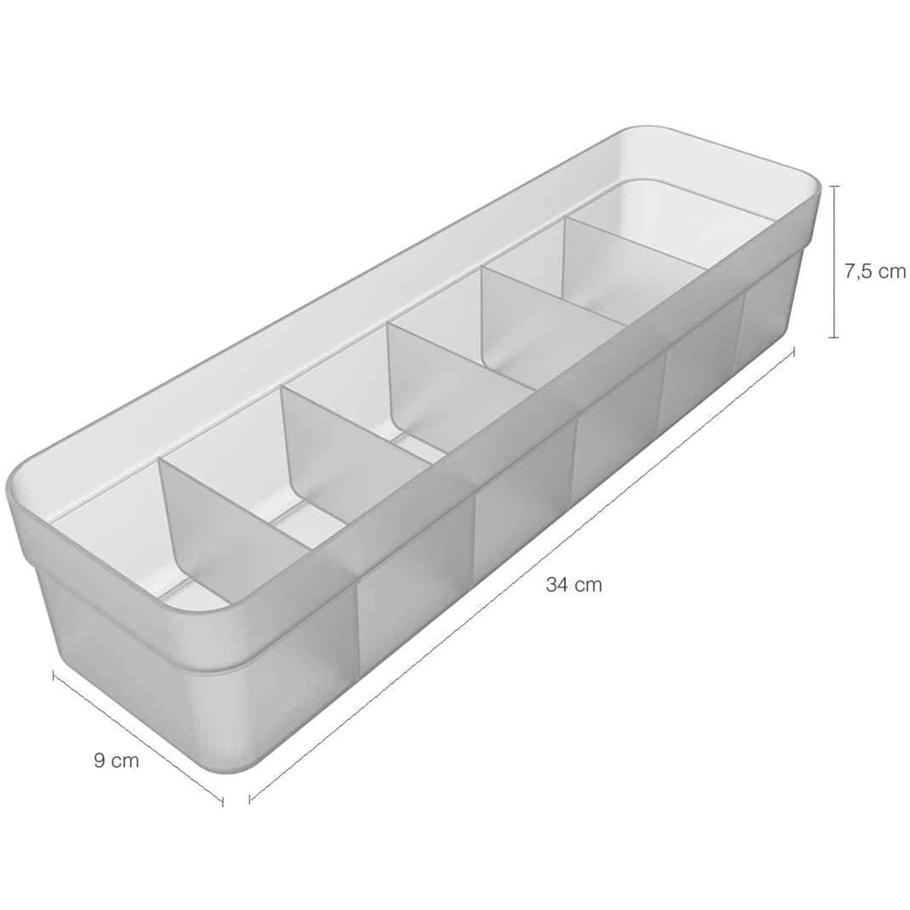 Organizador de gavetas 6 nichos 35 x 12,5 x 7,5cm Neutro