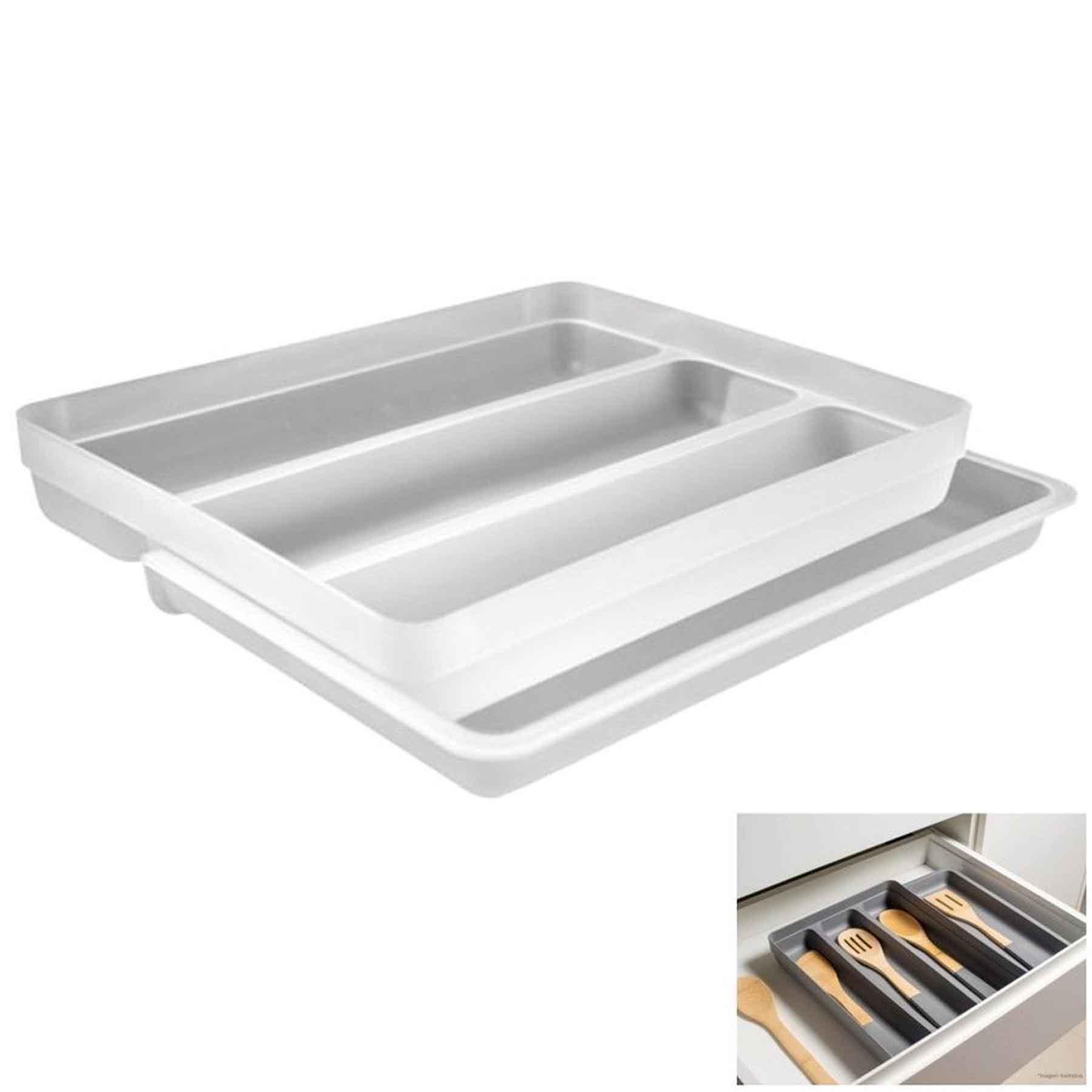 Organizador de Utensílios extensor Branco 36x27,6x5,7 cm