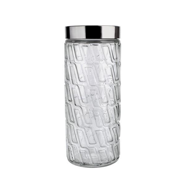 Pote de Vidro Mosaico com tampa Inox 2 litros Euro
