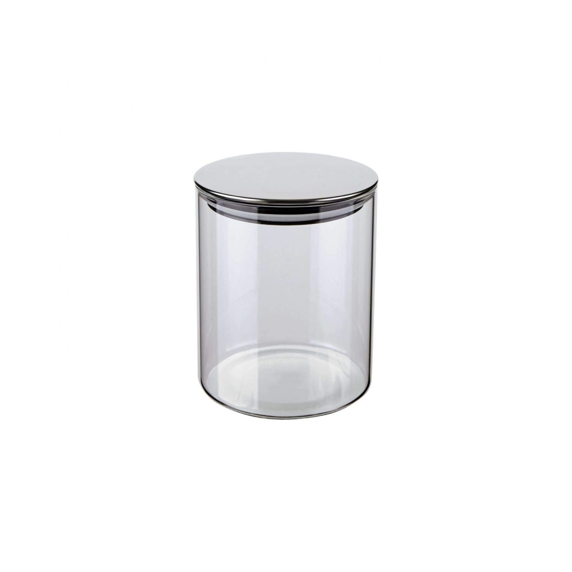 Pote de vidro Slim Tampa Inox Hermético 0,7L 13X13X10cm