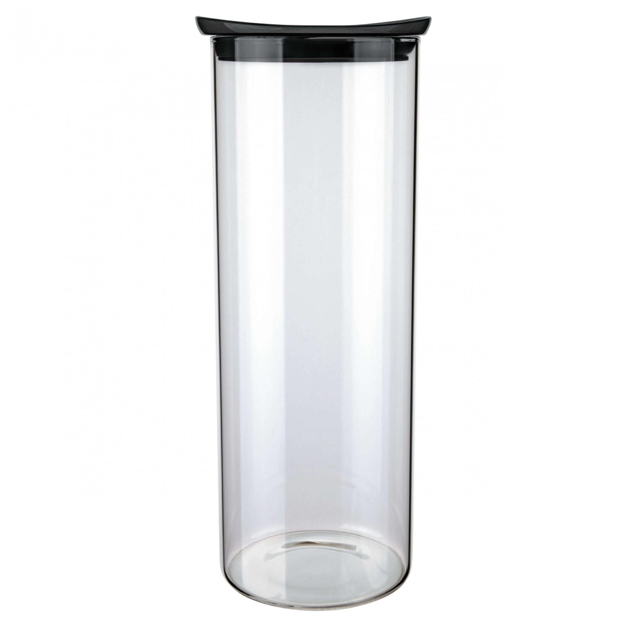 Pote de Vidro Slim Tampa Preta Hermético 1,7L 27,5x13x13cm