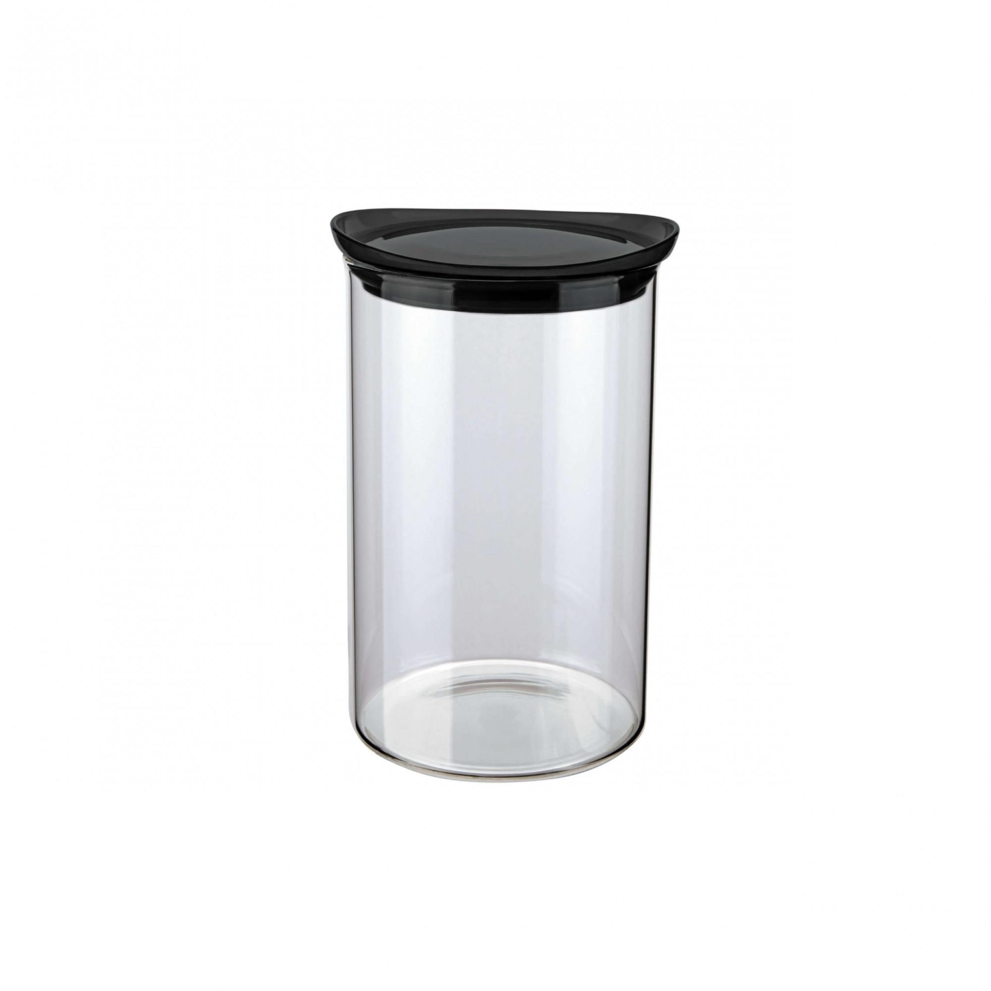 Pote de Vidro Slim Tampa Preta Hermético 1L 17,5x13x13cm