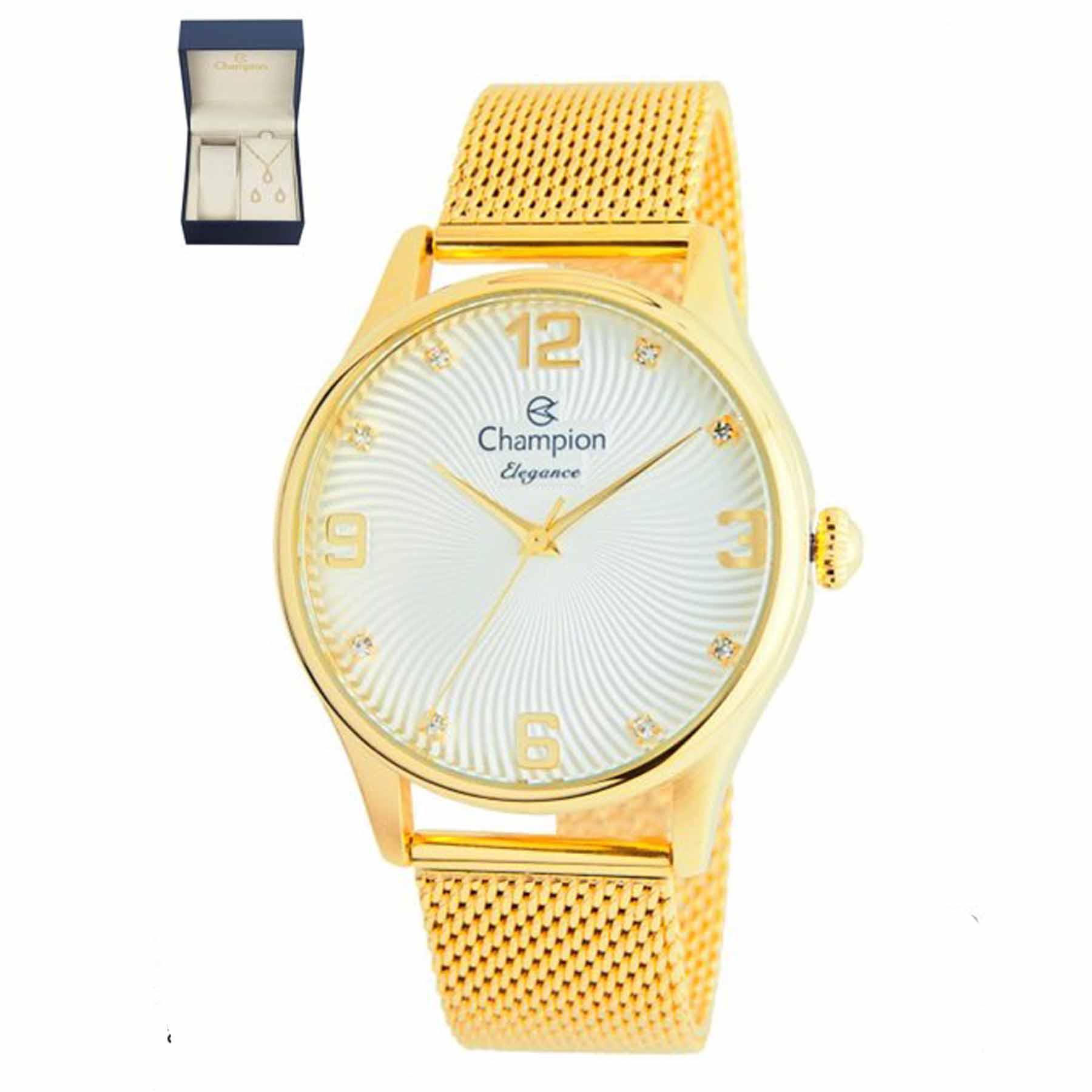 Relógio Champion Feminino Kit Semijóia CN25716B