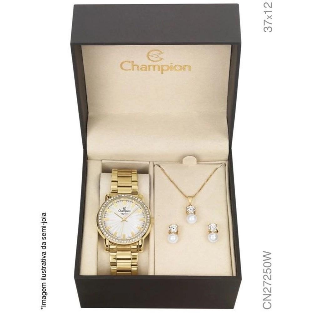 Relógio Champion Feminino Kit Semijóia CN27250W